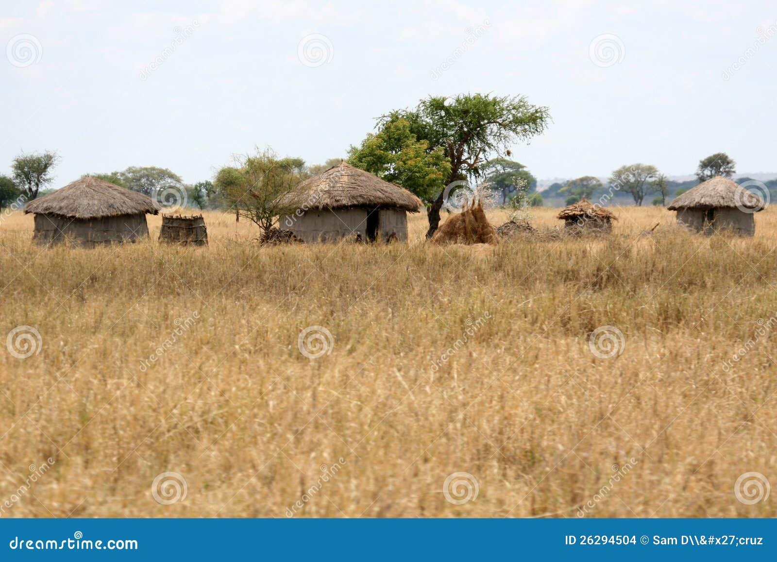 Het dorp van de hut van de modder nationaal park tarangire tanzania afrika stock foto - Het upgraden van m ...