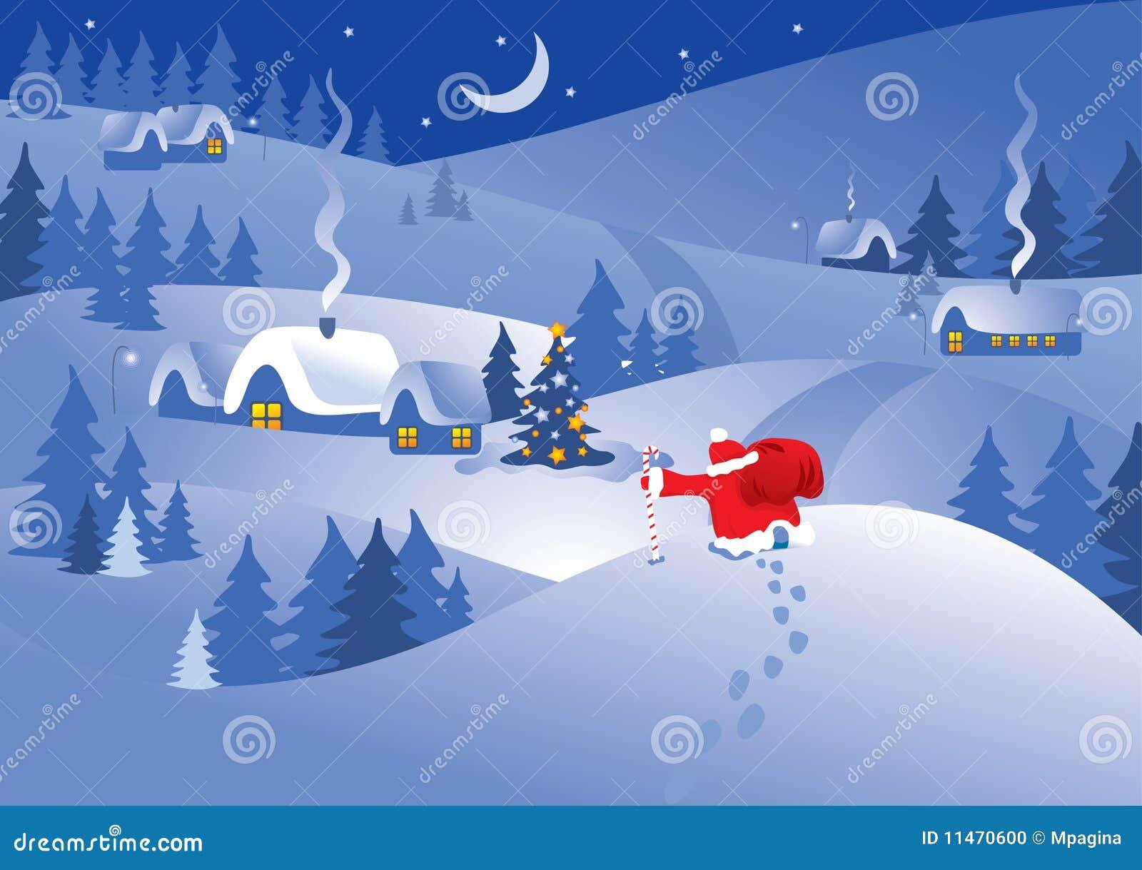 Het dorp van de kerstnacht. Vector.