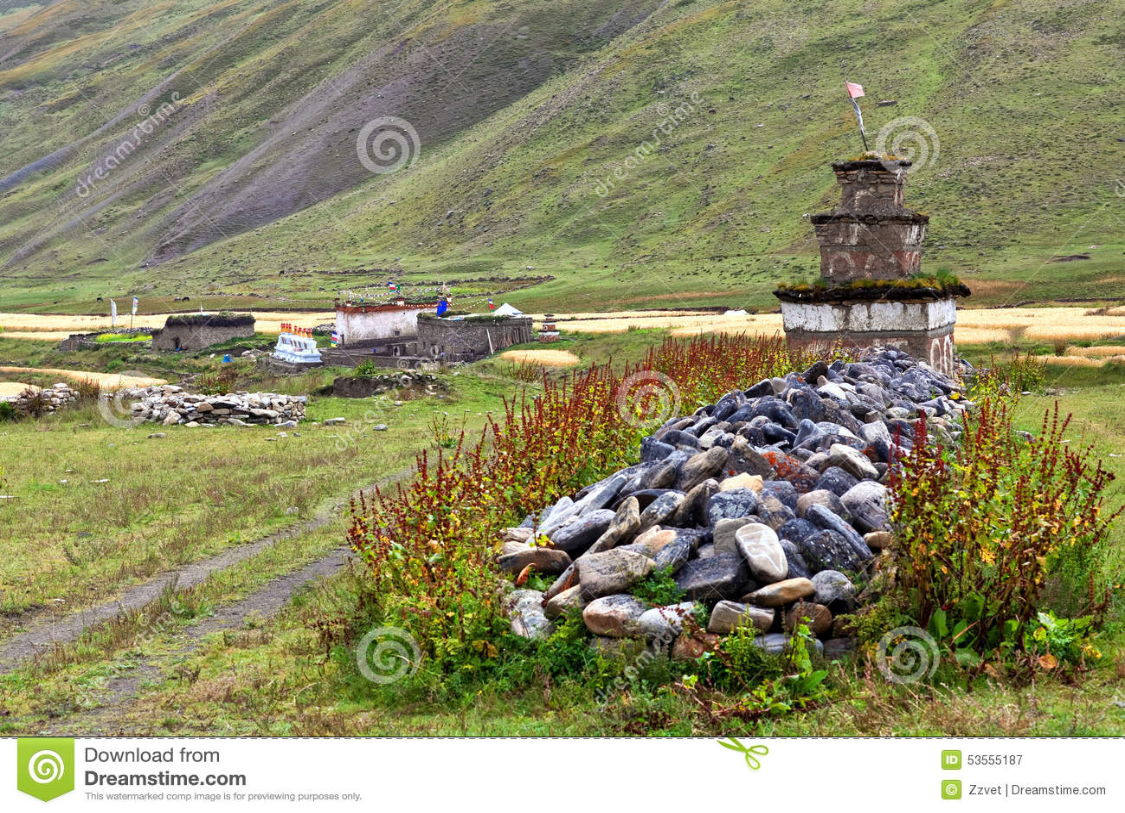 Het dorp van Dhotarap, Dolpo, Nepal