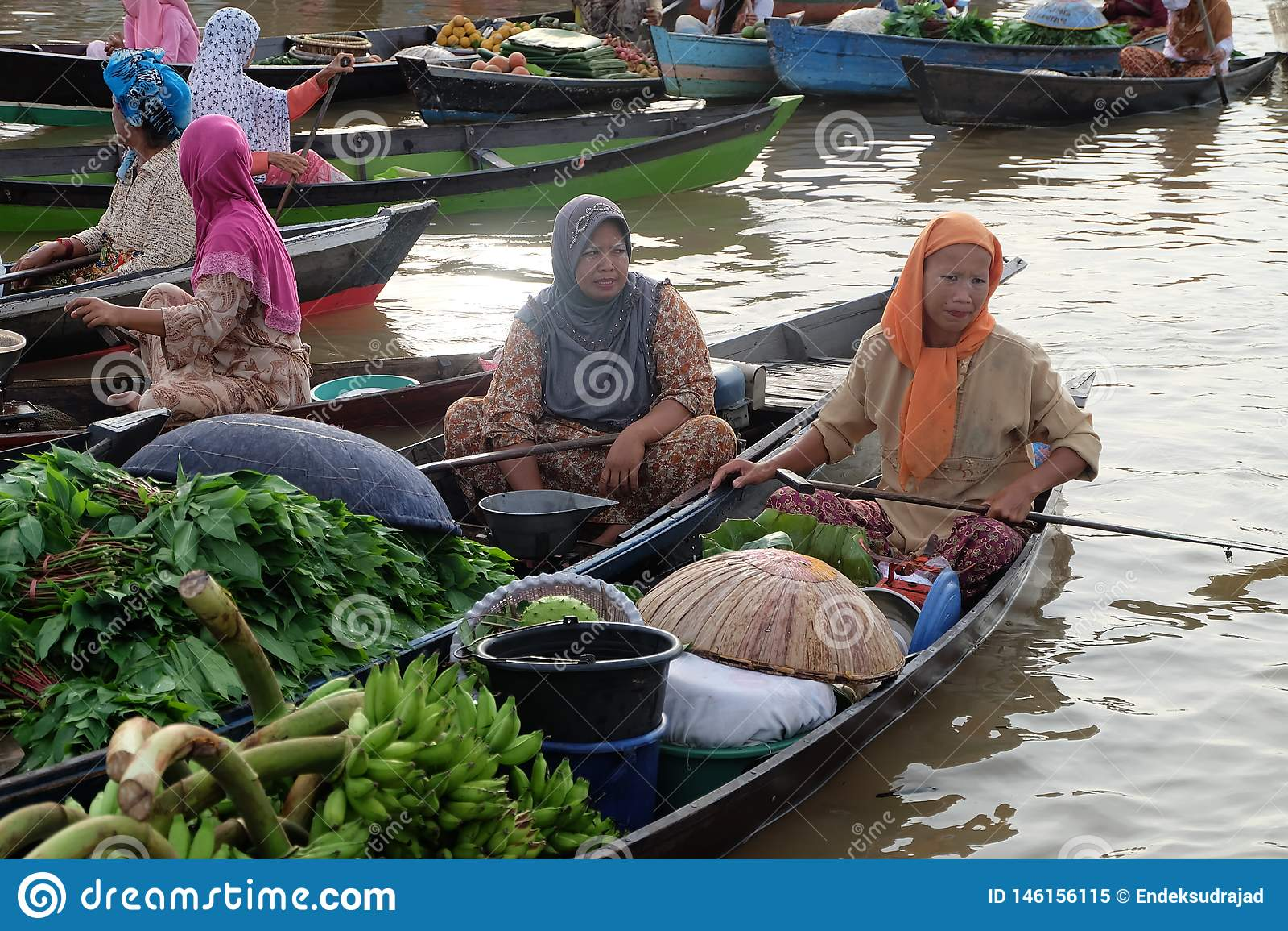 Het drijven Markt bij Banjarbaru-Zuiden Kalimantan Indonesi?