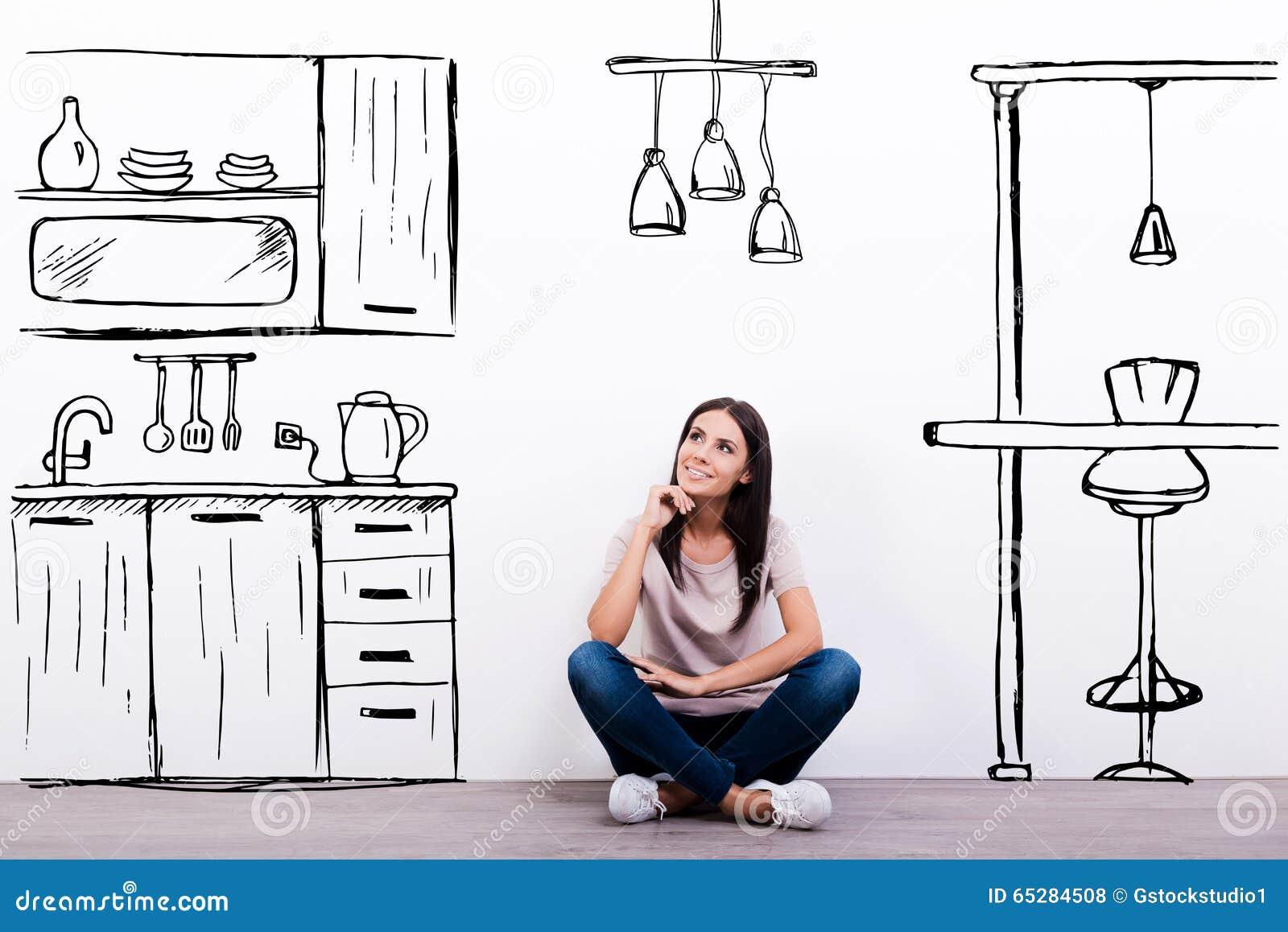 Achtergrond Witte Keuken : ... op de vloer tegen witte achtergrond met ...