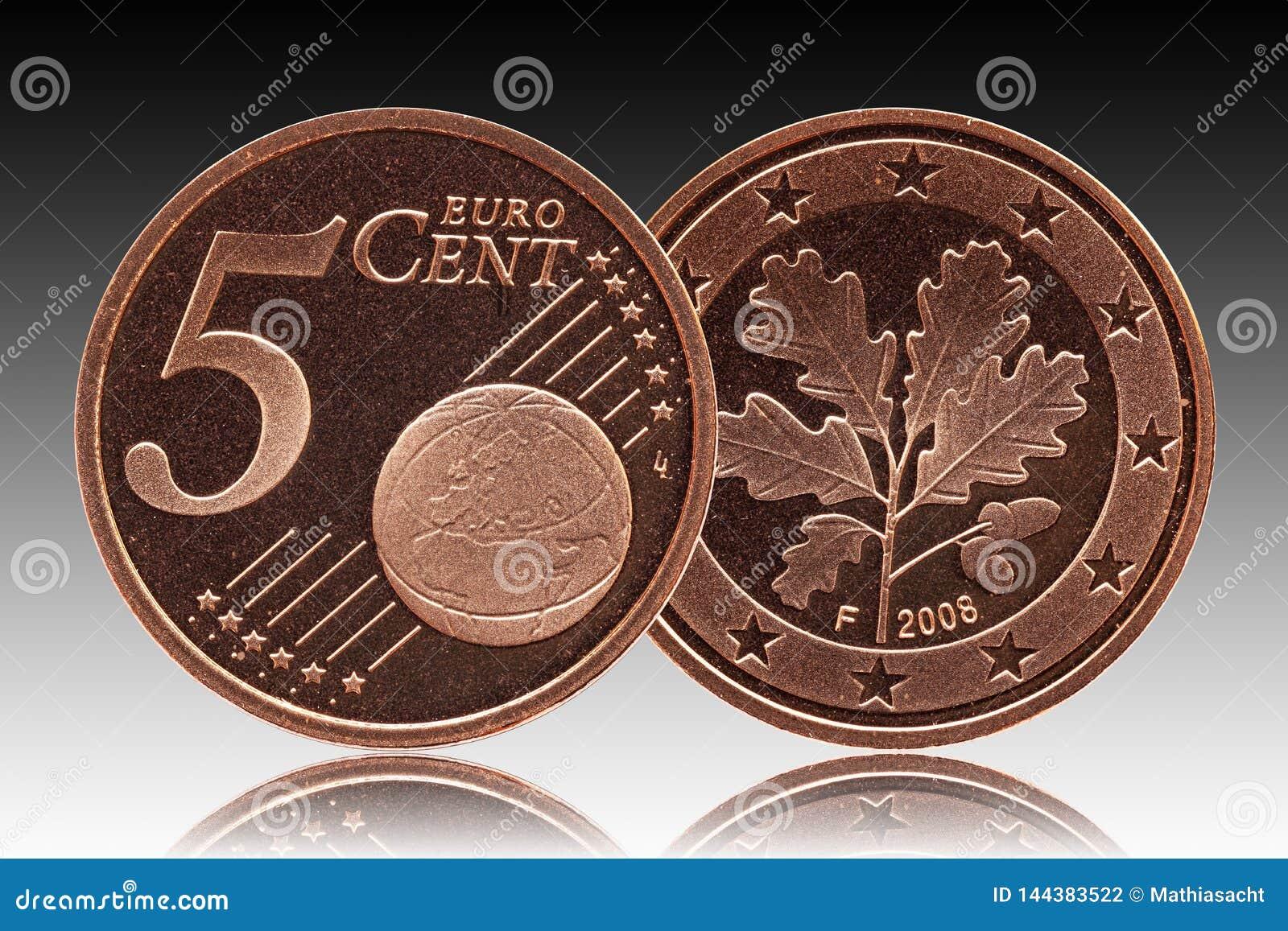 Het Duitse muntstuk van vijf eurocentduitsland, voorkant 5 en wereldbol, achtereind eiken blad