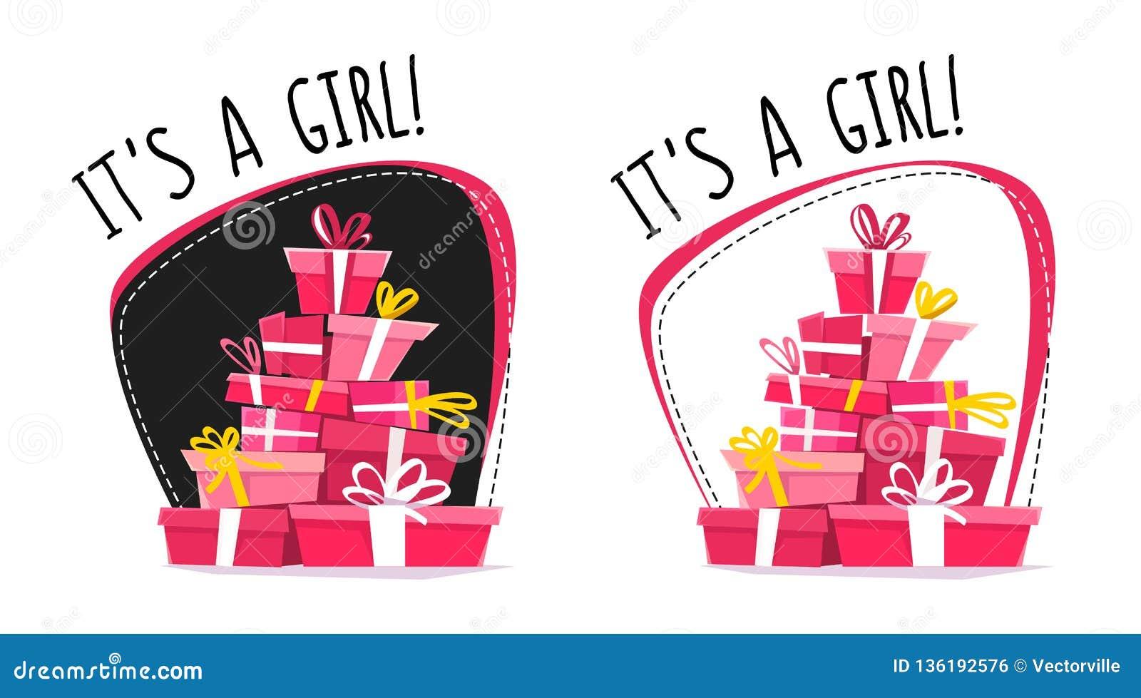 Het is een prentbriefkaar van de meisjesgroet of een sticker, minimale vlakke stijl van het beeldverhaal de verkeerde perspectief