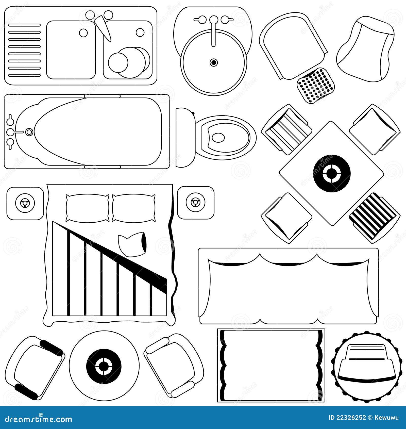 Het eenvoudige plan van het meubilair van de vloer overzicht vector illustratie afbeelding - Meubilair van de ingang spiegel ...