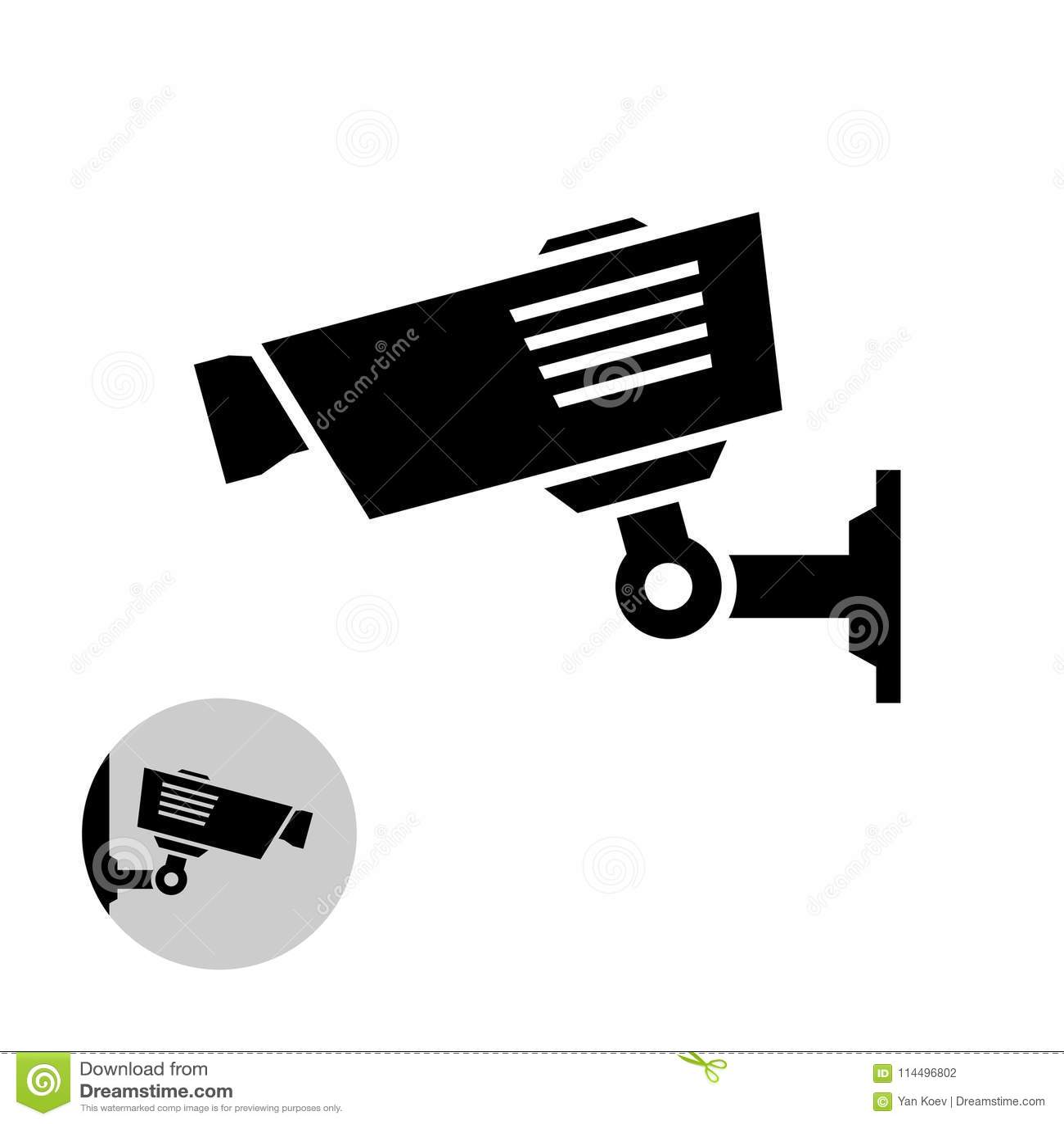 Het eenvoudige zwarte pictogram van de veiligheidscamera op de muur