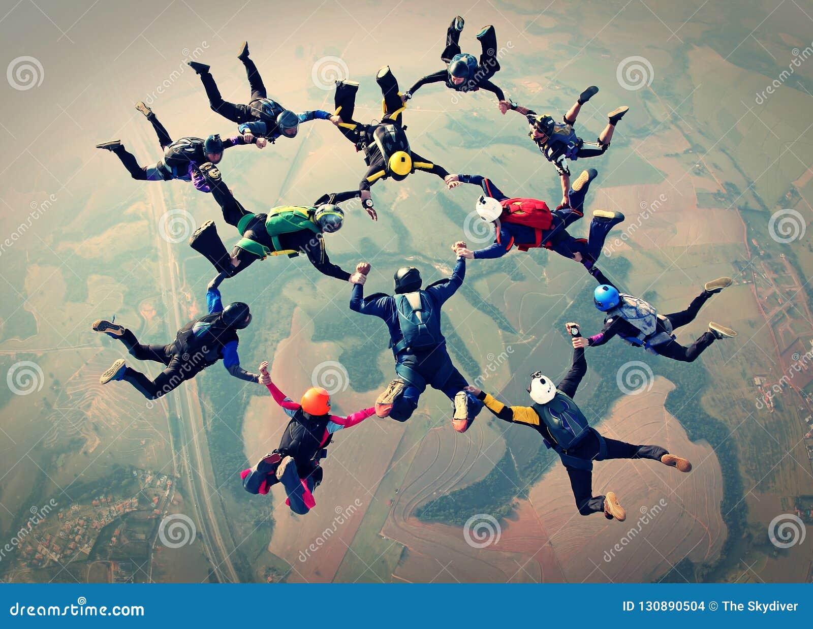 Het effect van de het werkfoto van het Skydiversteam
