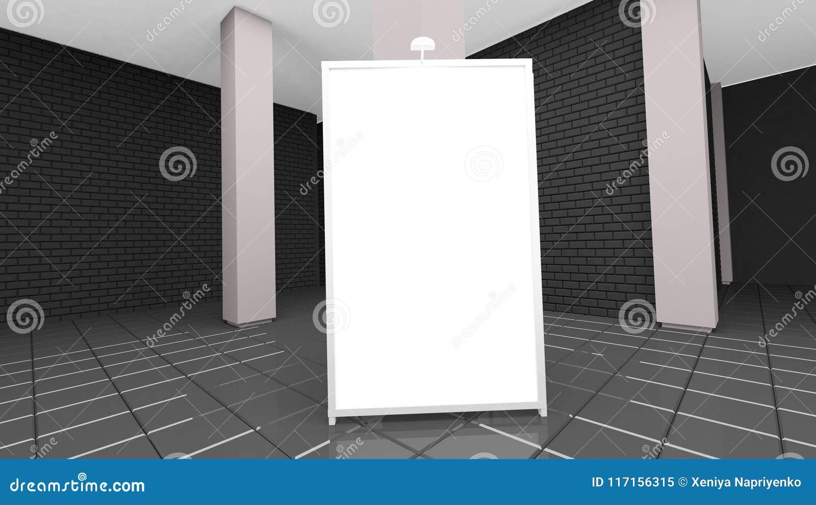 Het eigentijdse binnenland van de baksteenwoonkamer met laag en lege affiche het 3d teruggeven