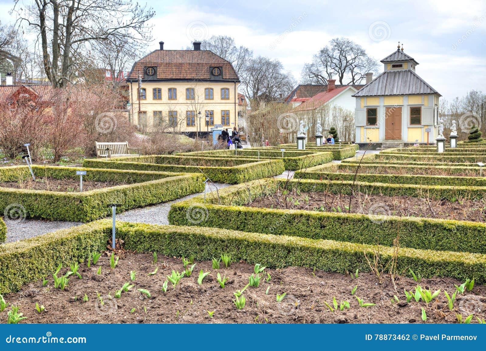 Het Eiland Djurgarden, Stockholm Het museum van Skansen flowerbeds