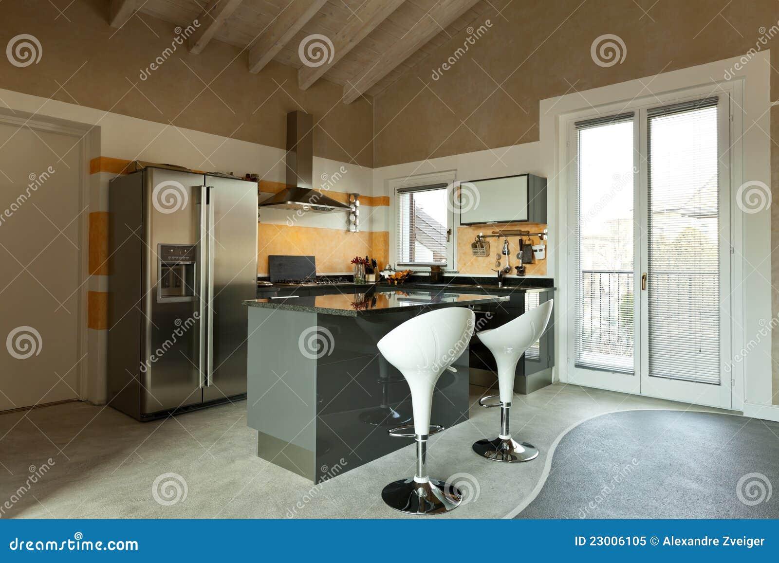 Het eiland van de keuken met twee krukken royalty vrije stock foto beeld 23006105 - Keuken foto met eiland ...