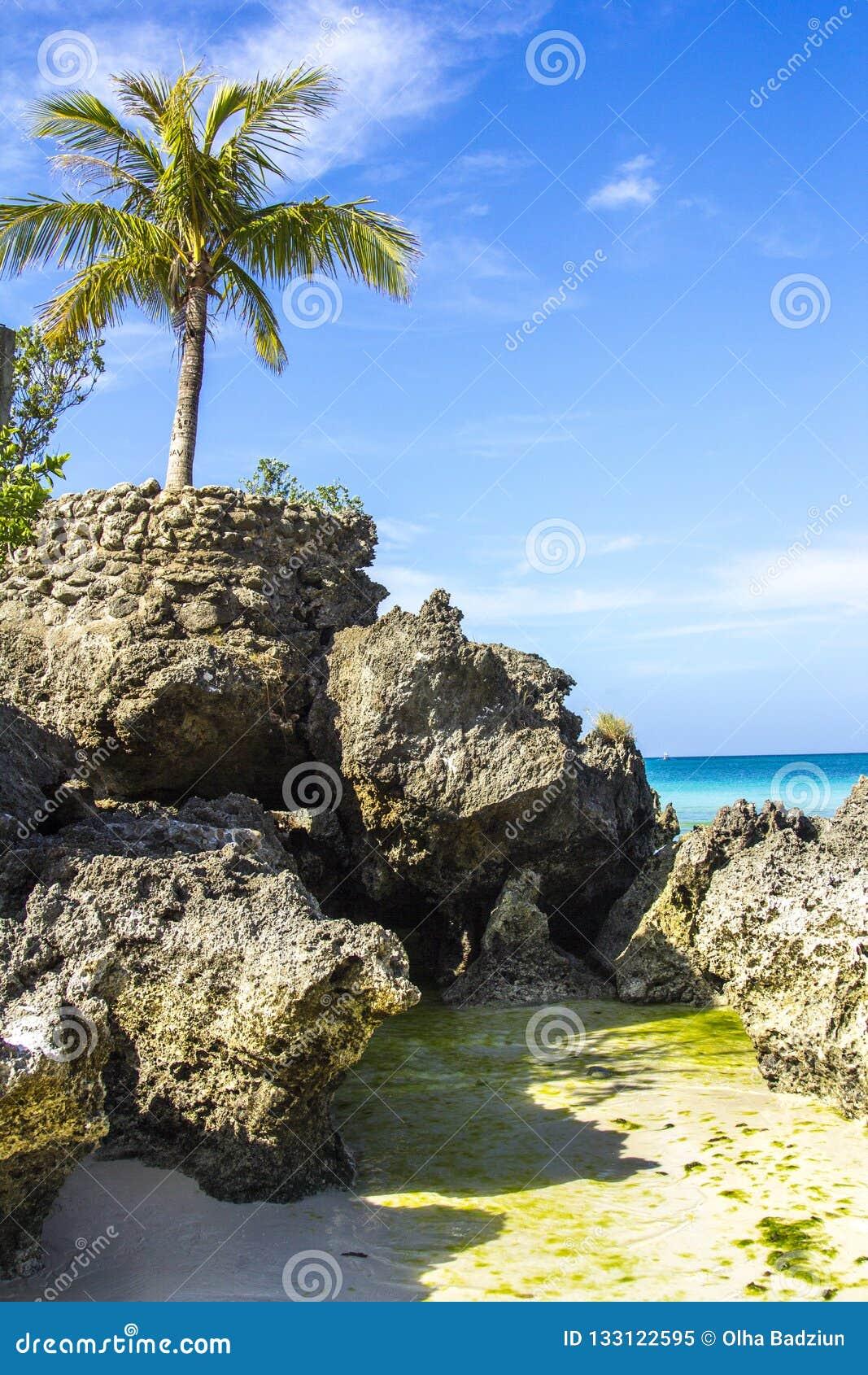 Het eilandoverzees van Boracayfilippijnen, strand, water, oceaan, kust, blauw, hemel, landschap, de zomer, aard, eiland, tropisch
