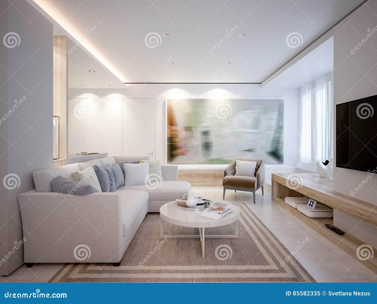 Het elegante en luxueuze lichte open leven en eetkamer stock