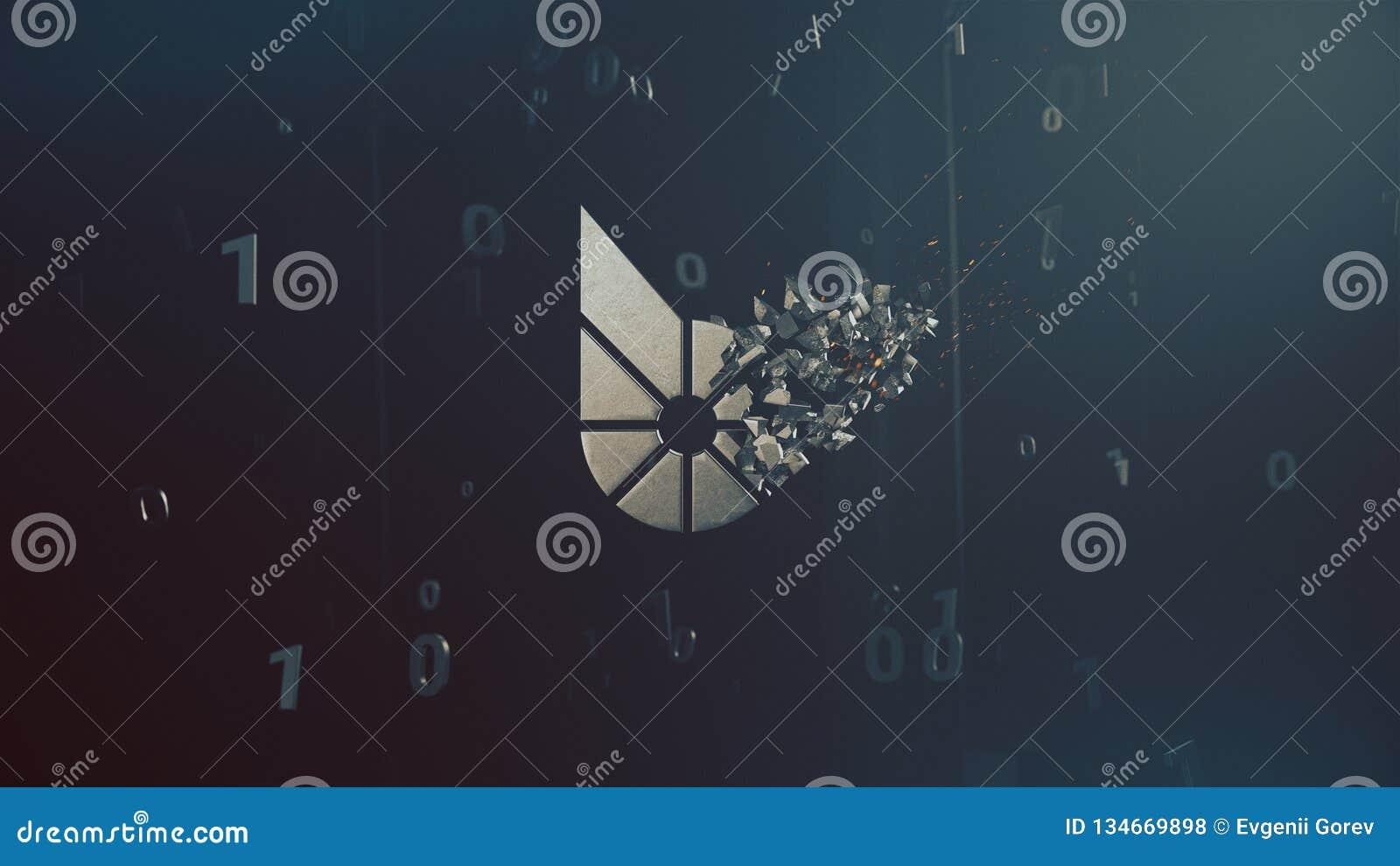 Het embleem 3d illustratie van Bitsharescryptocurrency
