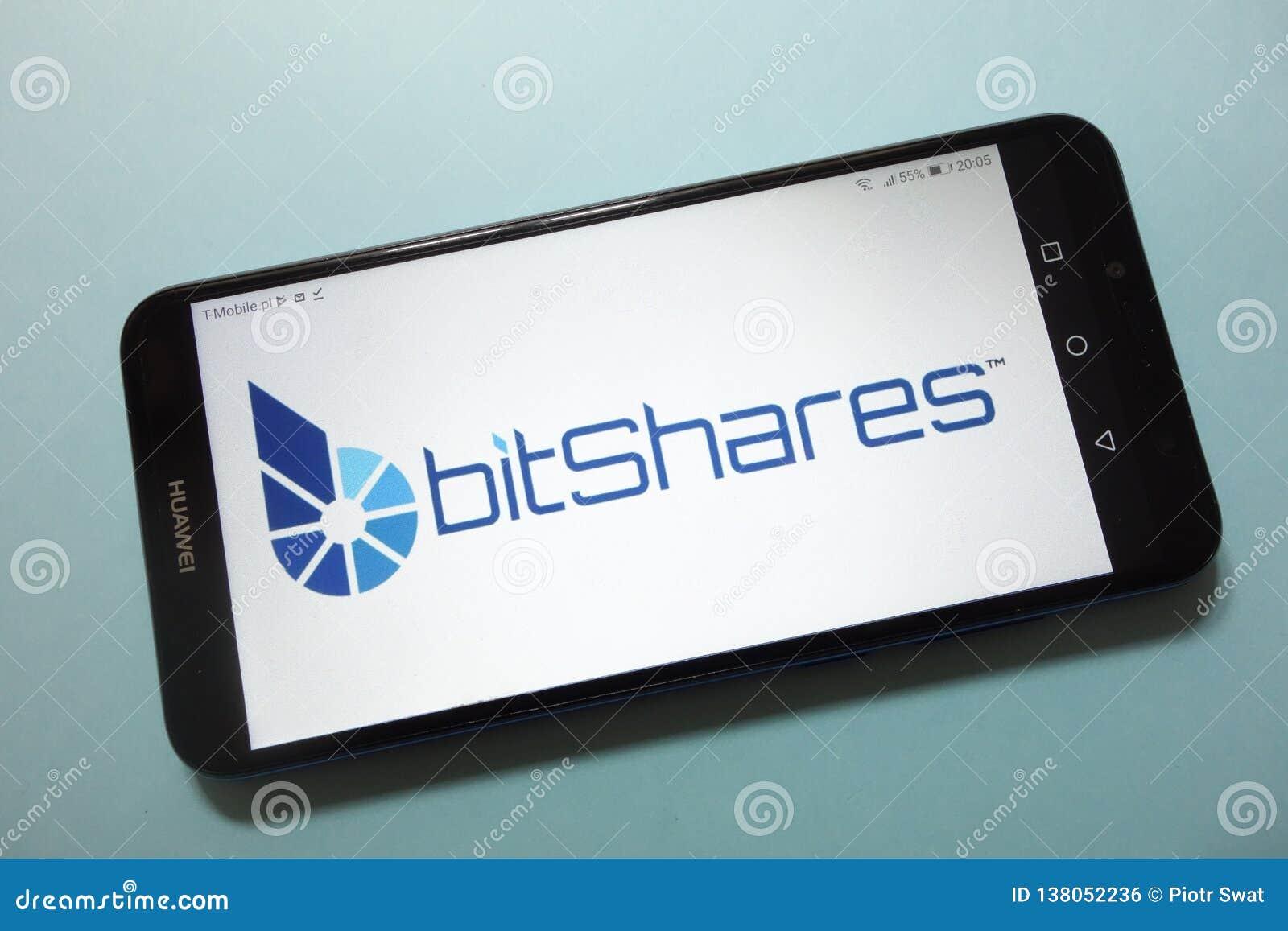 Het embleem van BitSharesbts cryptocurrency op smartphone wordt getoond die