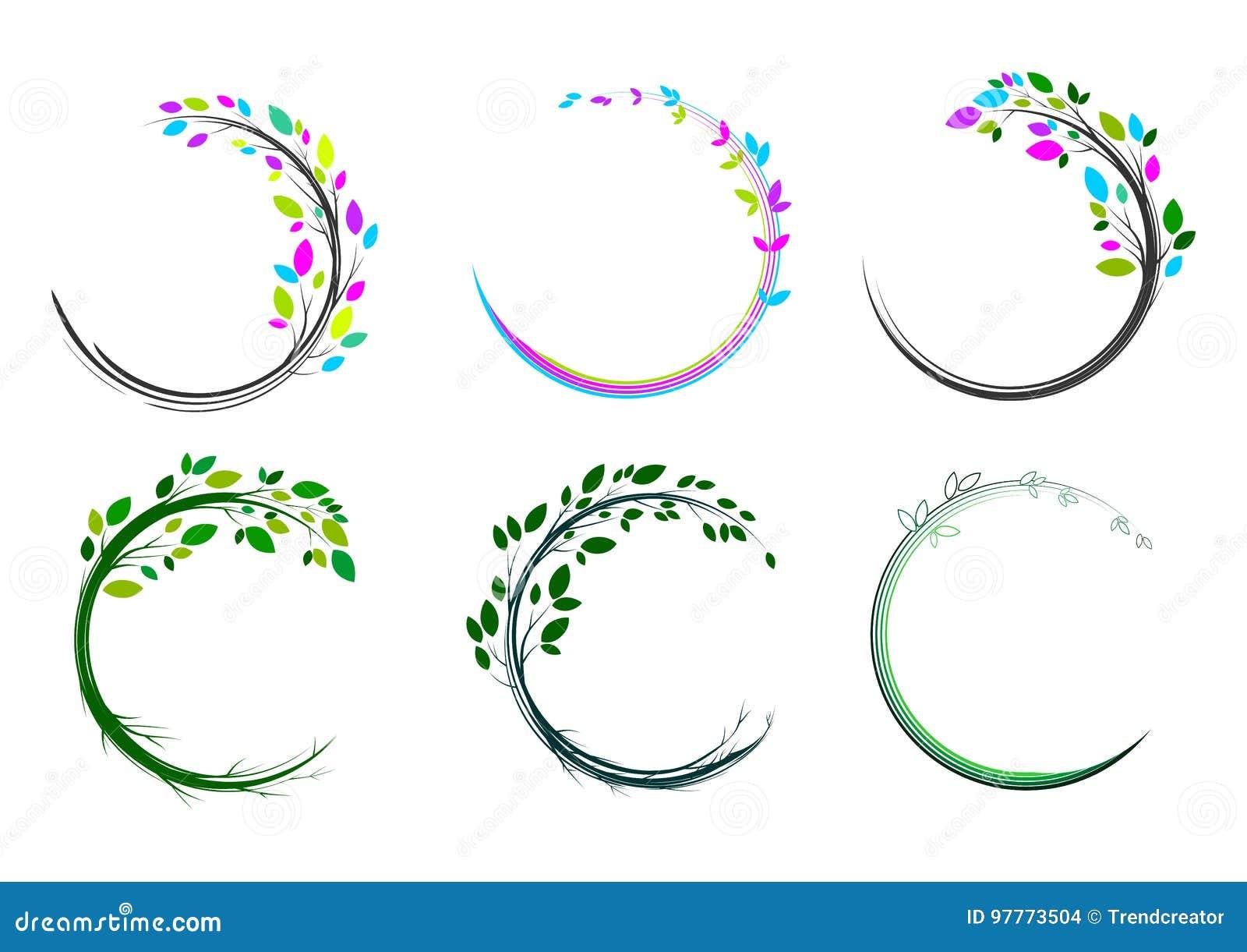 Het embleem van de bladcirkel, kuuroord, massage, gras, pictogram, installatie, onderwijs, yoga, gezondheid, en aardconceptontwer