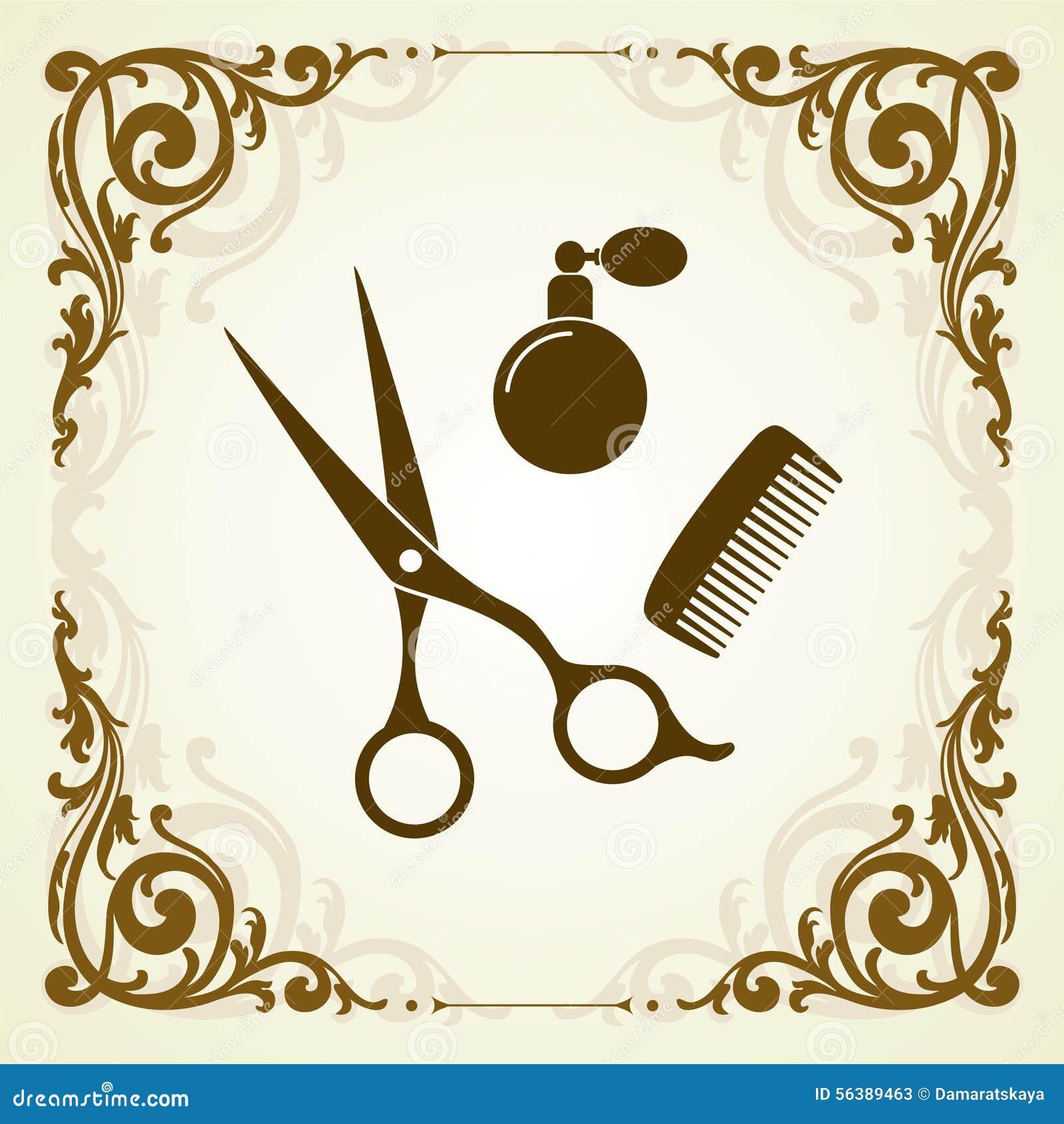 Het embleem van de haarsalon met plaats voor tekst
