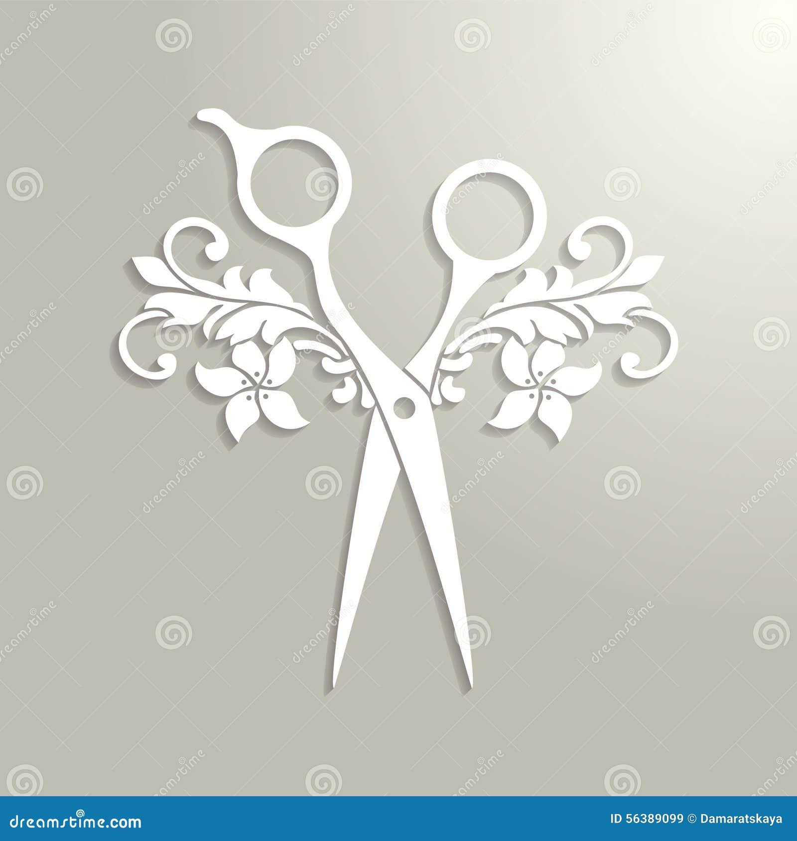 Het embleem van de haarsalon met witte schaar vector illustratie afbeelding 56389099 - Witte kapper ...
