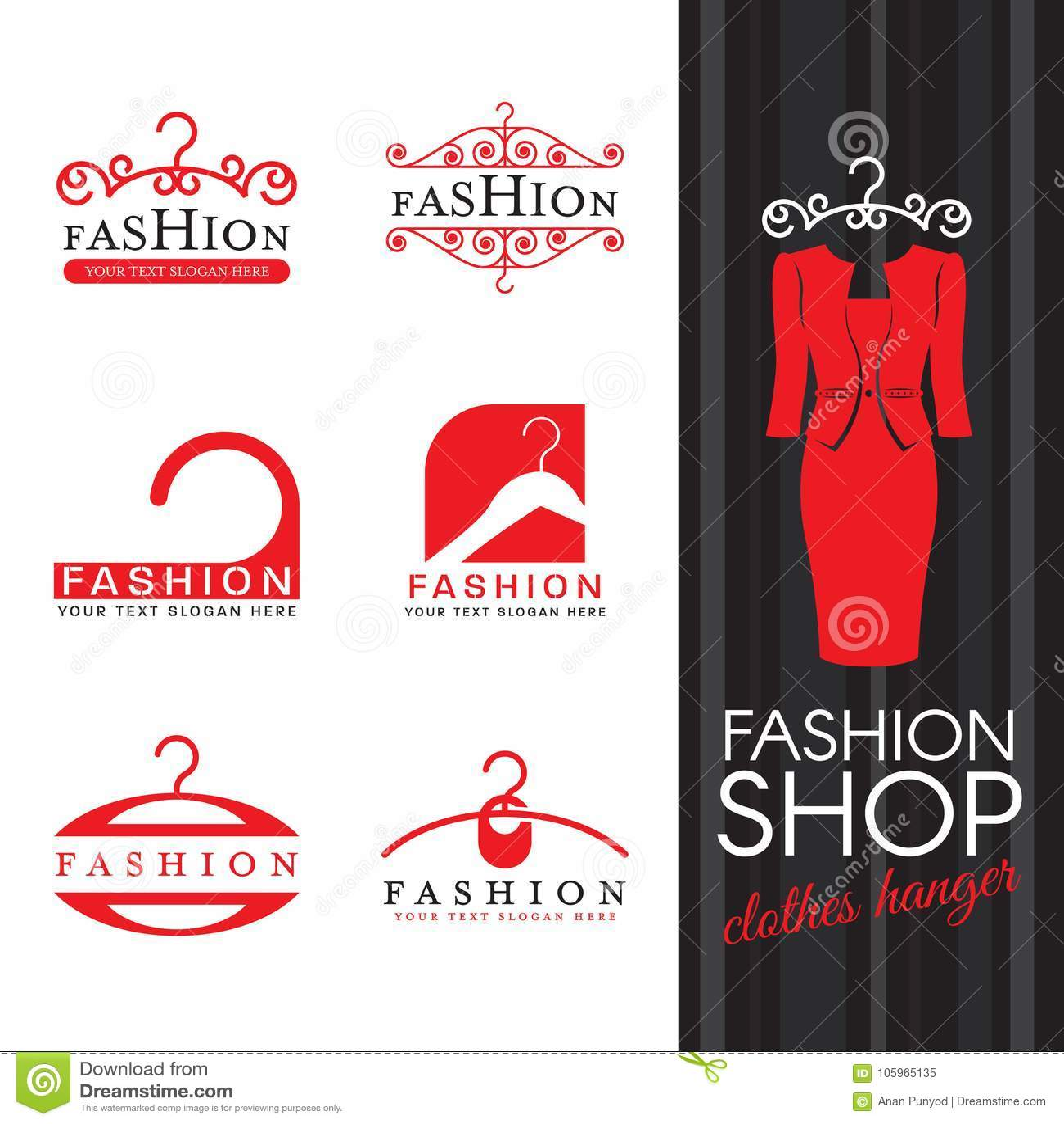 Het embleem van de manierwinkel - Rood het teken vector vastgesteld ontwerp van het kleerhangerembleem