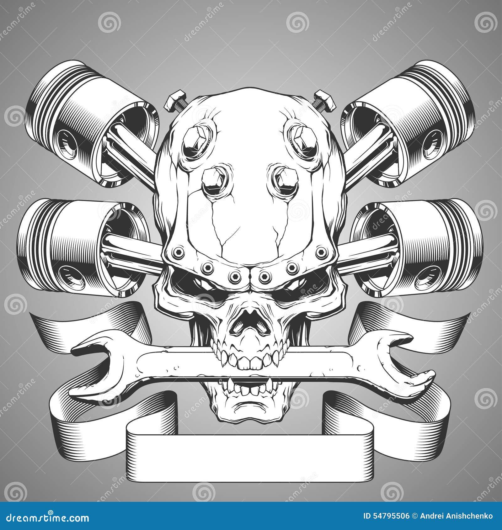 Het embleem van de motorschedel