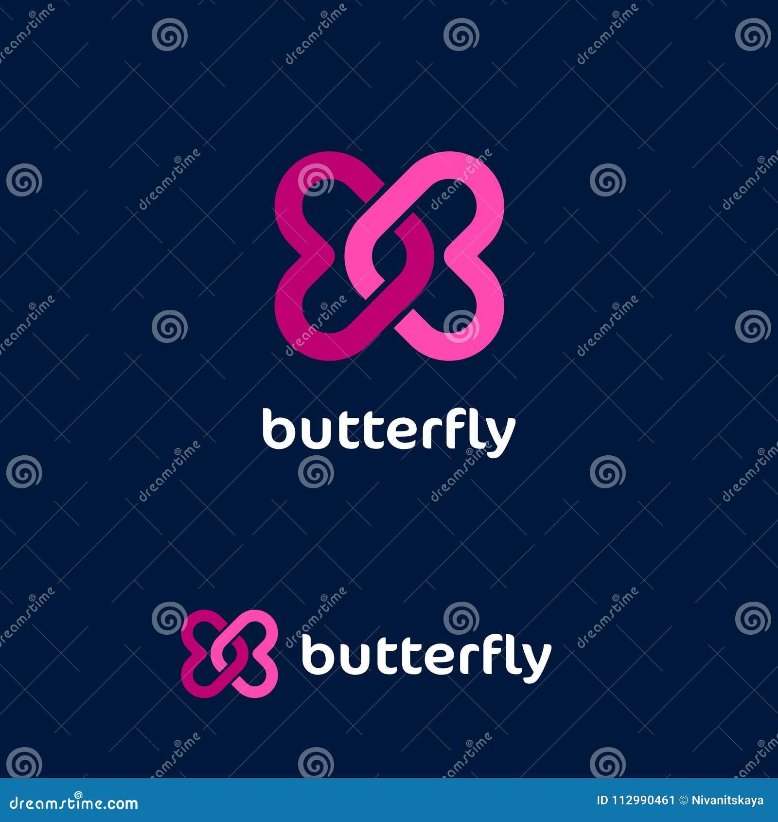 Het embleem van de vlinder Liefdeembleem Het dateren van websiteembleem Twee roze verdraaide harten op een donkere achtergrond