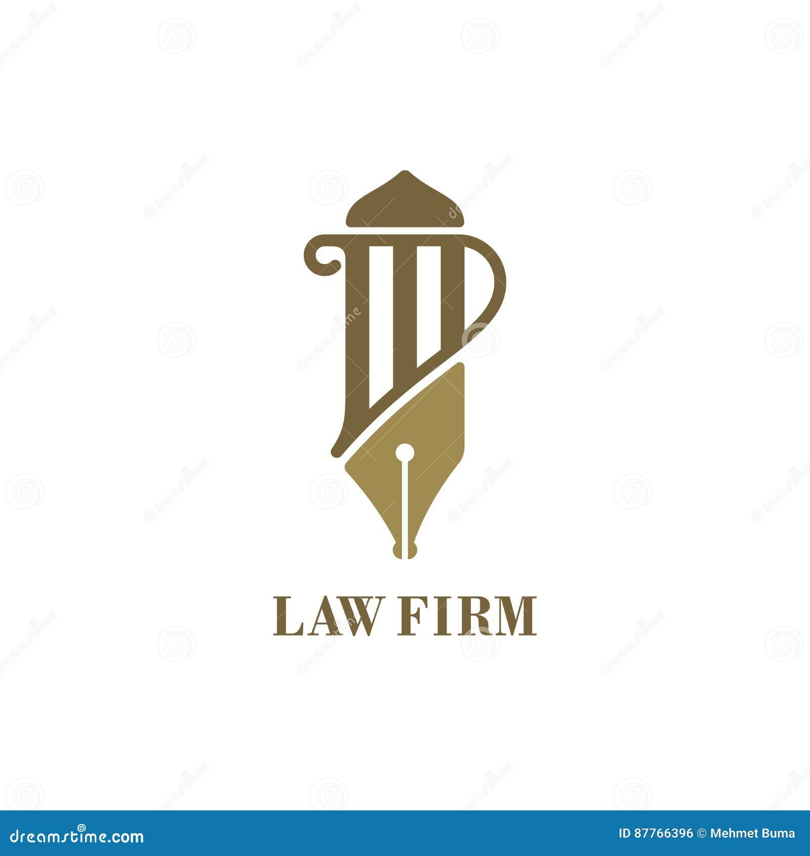Het embleem van de wetsdienst met pijler en vulpen Vector illustratie