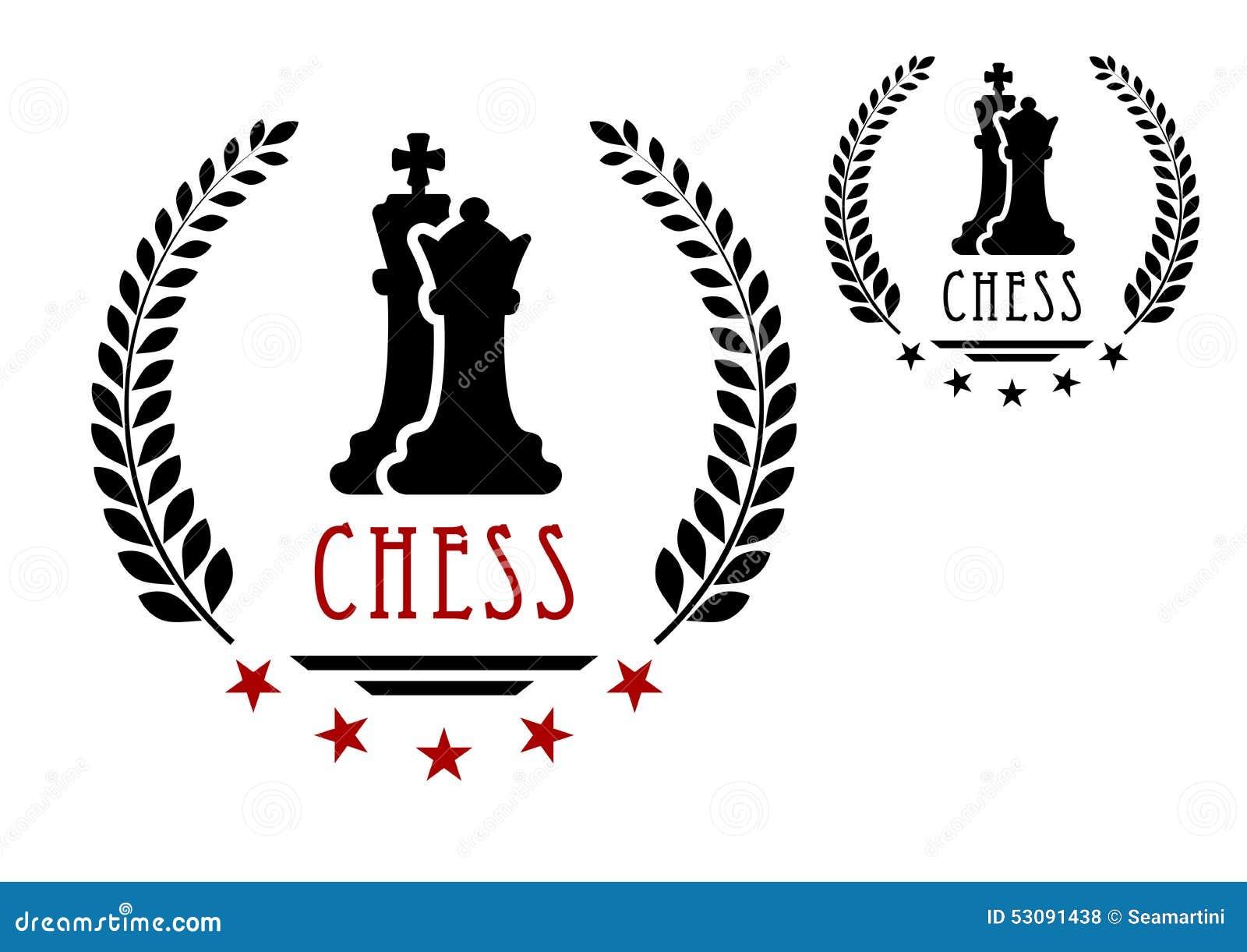Het embleem van het schaakspel met koning en koningin