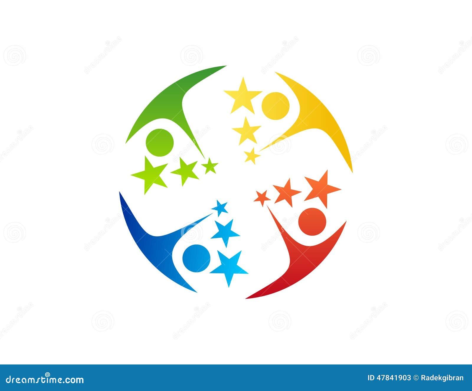 Het embleem van het teamwerk, onderwijs, het pictogramsymbool van vieringsmensen