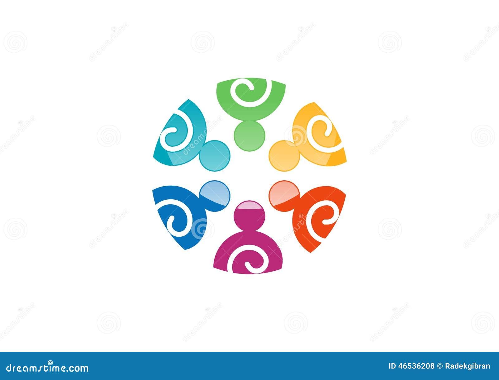 Het embleem van het teamwerk, Sociaal Netwerk, het ontwerp van het unieteam, de vector van de illustratiegroep logotype