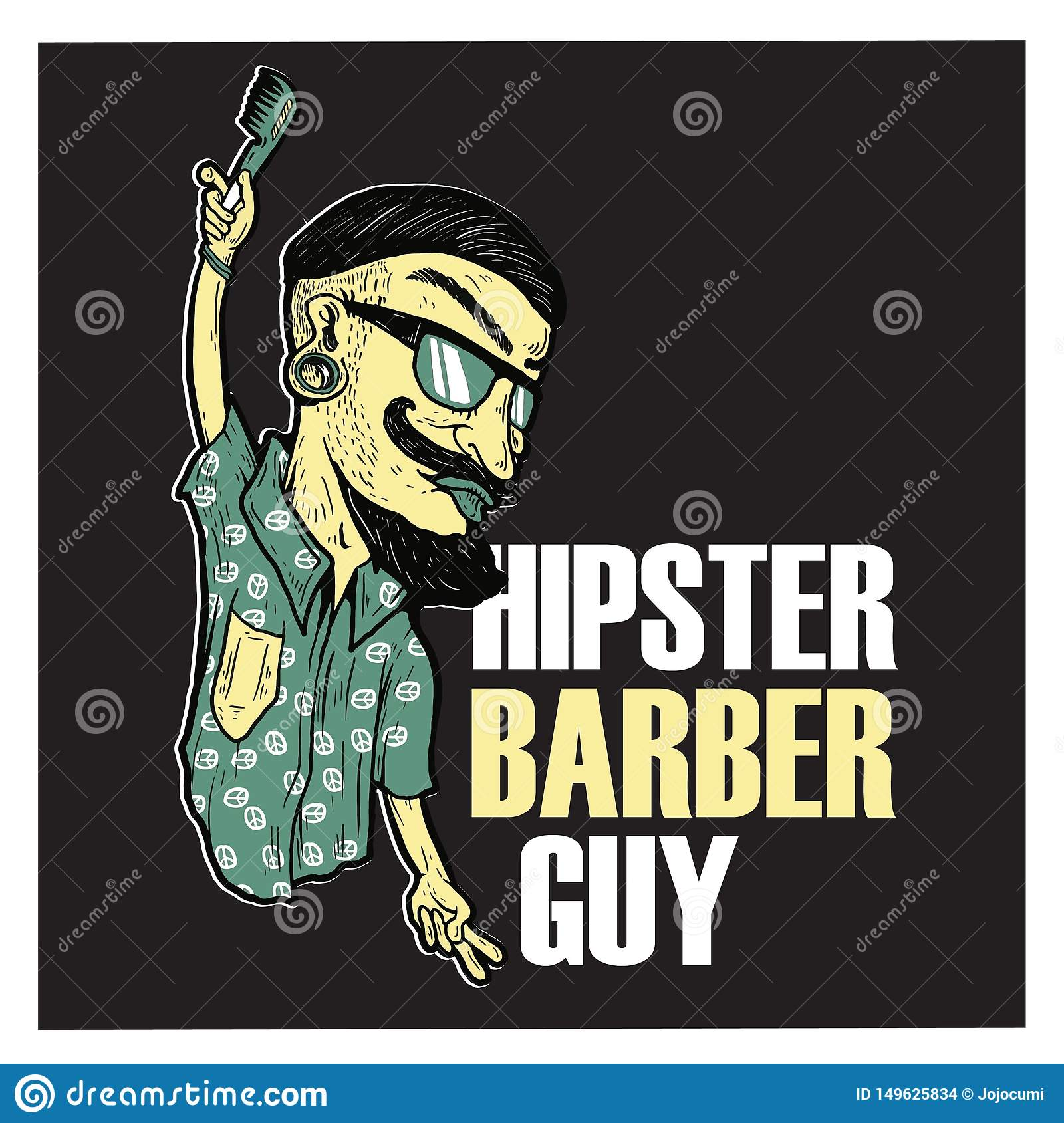 Het embleem van Hipsterbarber guy illustration cartoon