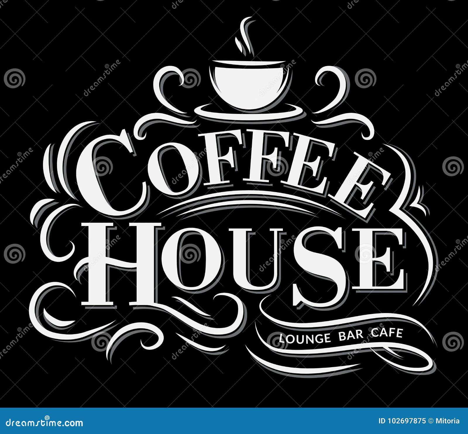 Het Embleem van het koffiehuis met retro effect en kop