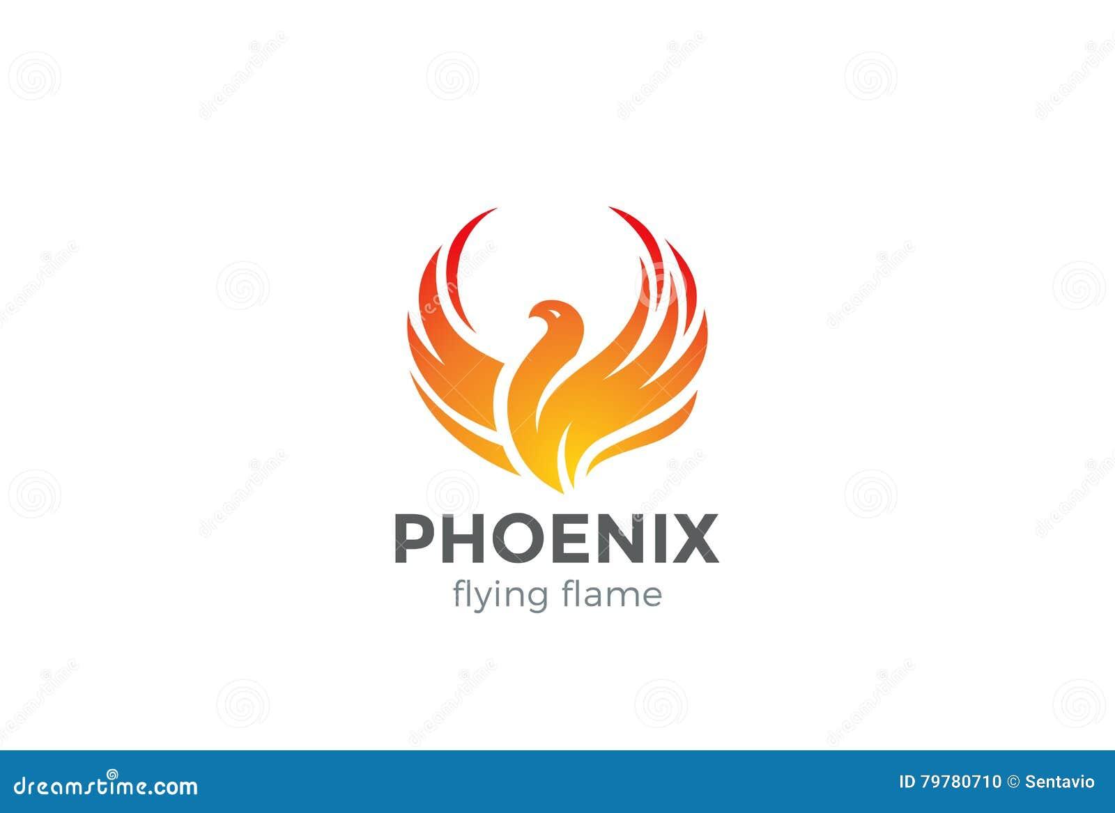 Het Embleem van Phoenix het vliegen de vector van het vogelontwerp