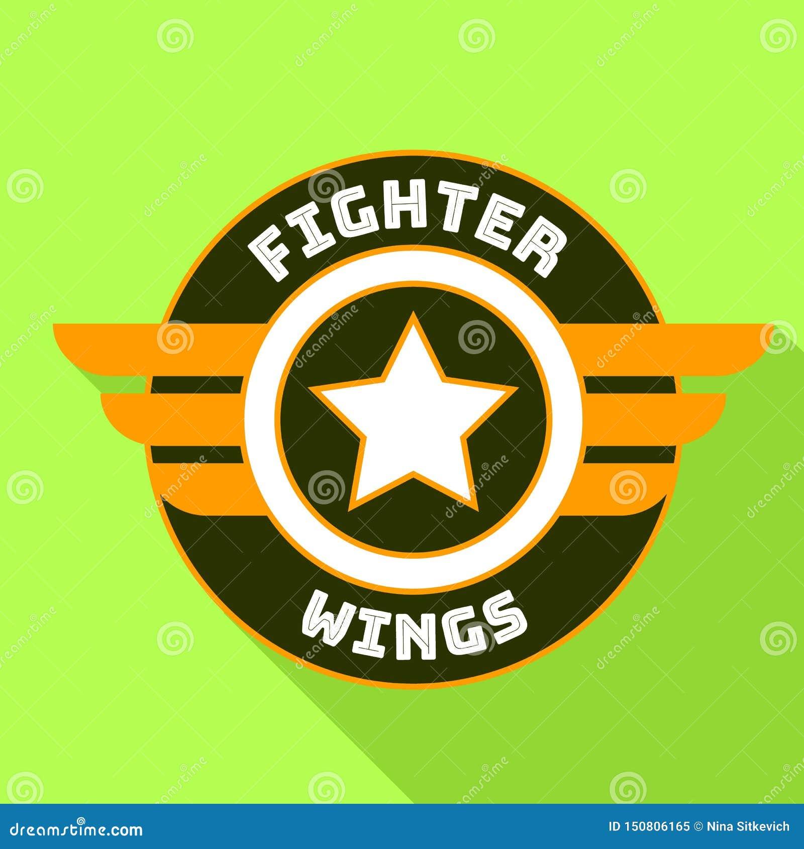 Het embleem van vechtersvleugels, vlakke stijl