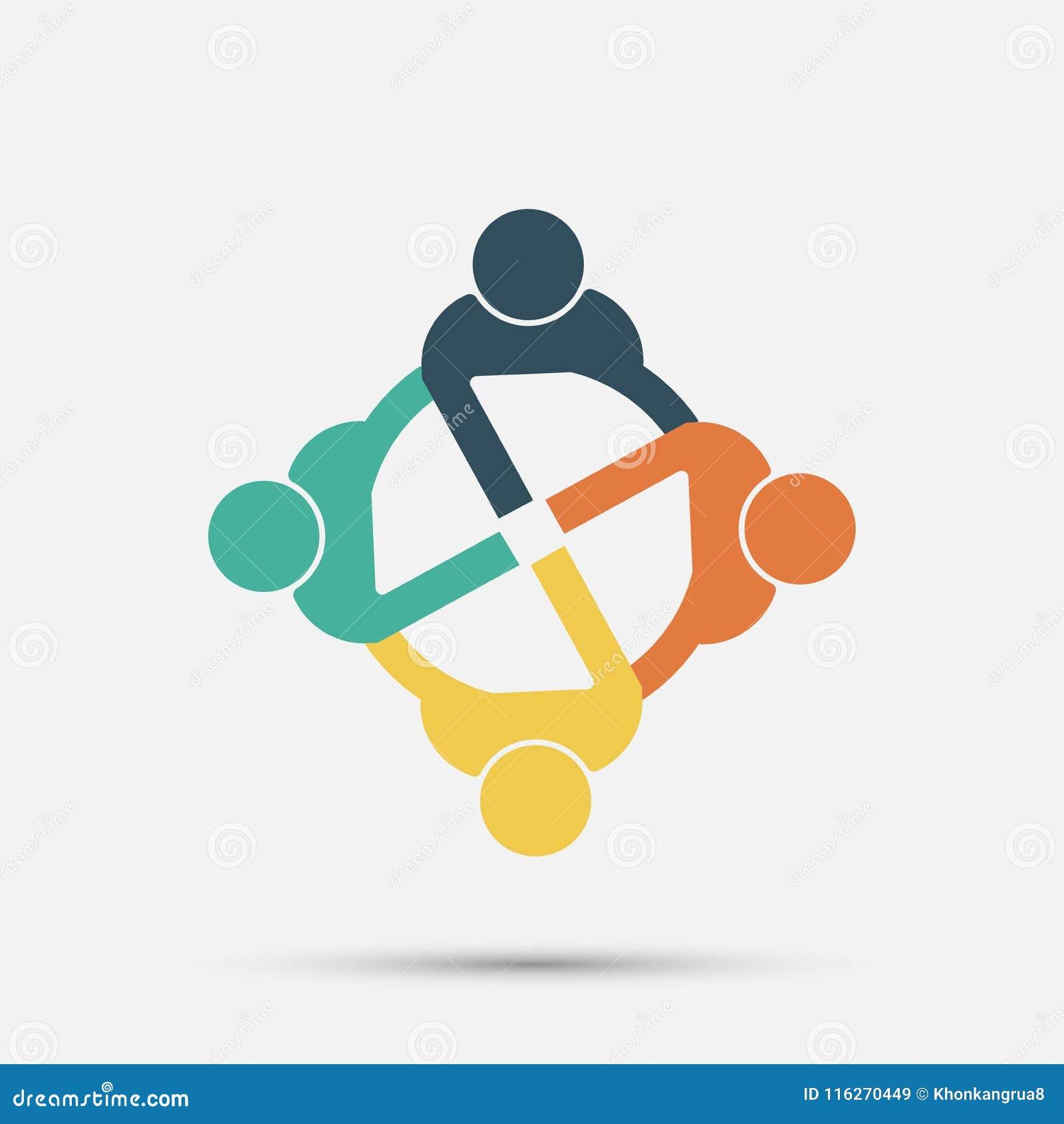 Het embleem van vergaderzaalmensen groep van vier personen in cirkel