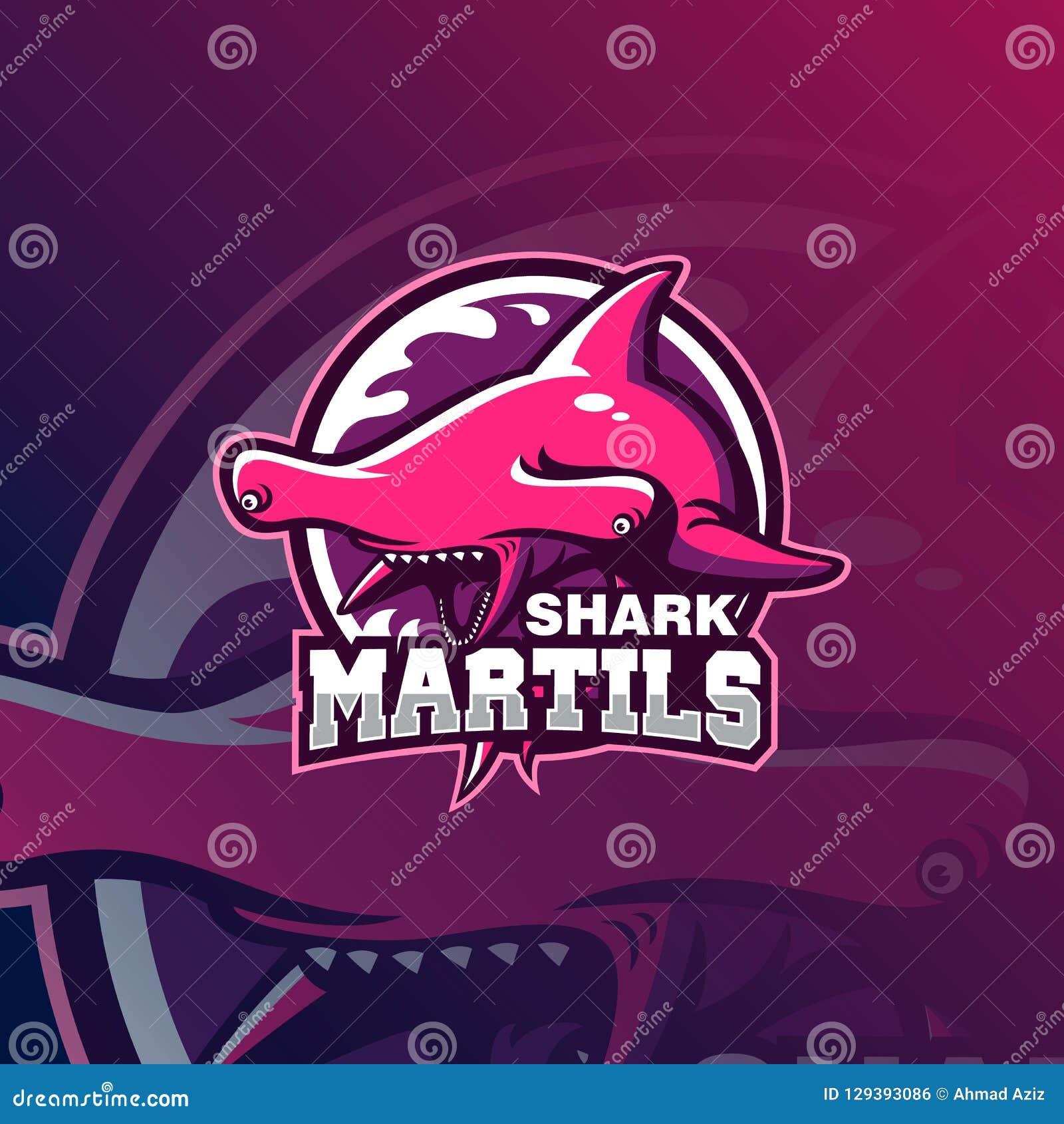 Het embleem vectorillustratie van de haaimascotte