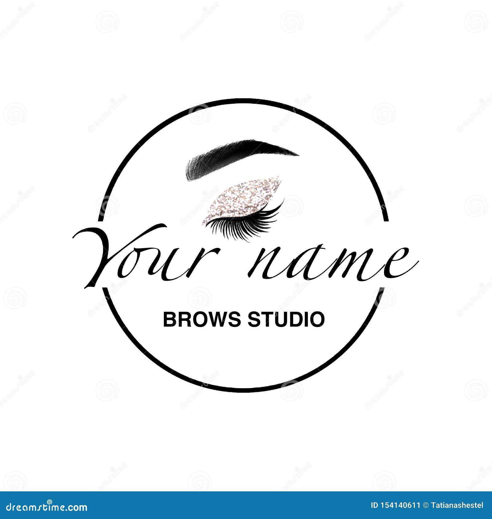 Het embleemelementen van de Browsstudio Het etiket van de Browbar wenkbrauwen Het micro- brandmerken Maak omhoog embleem