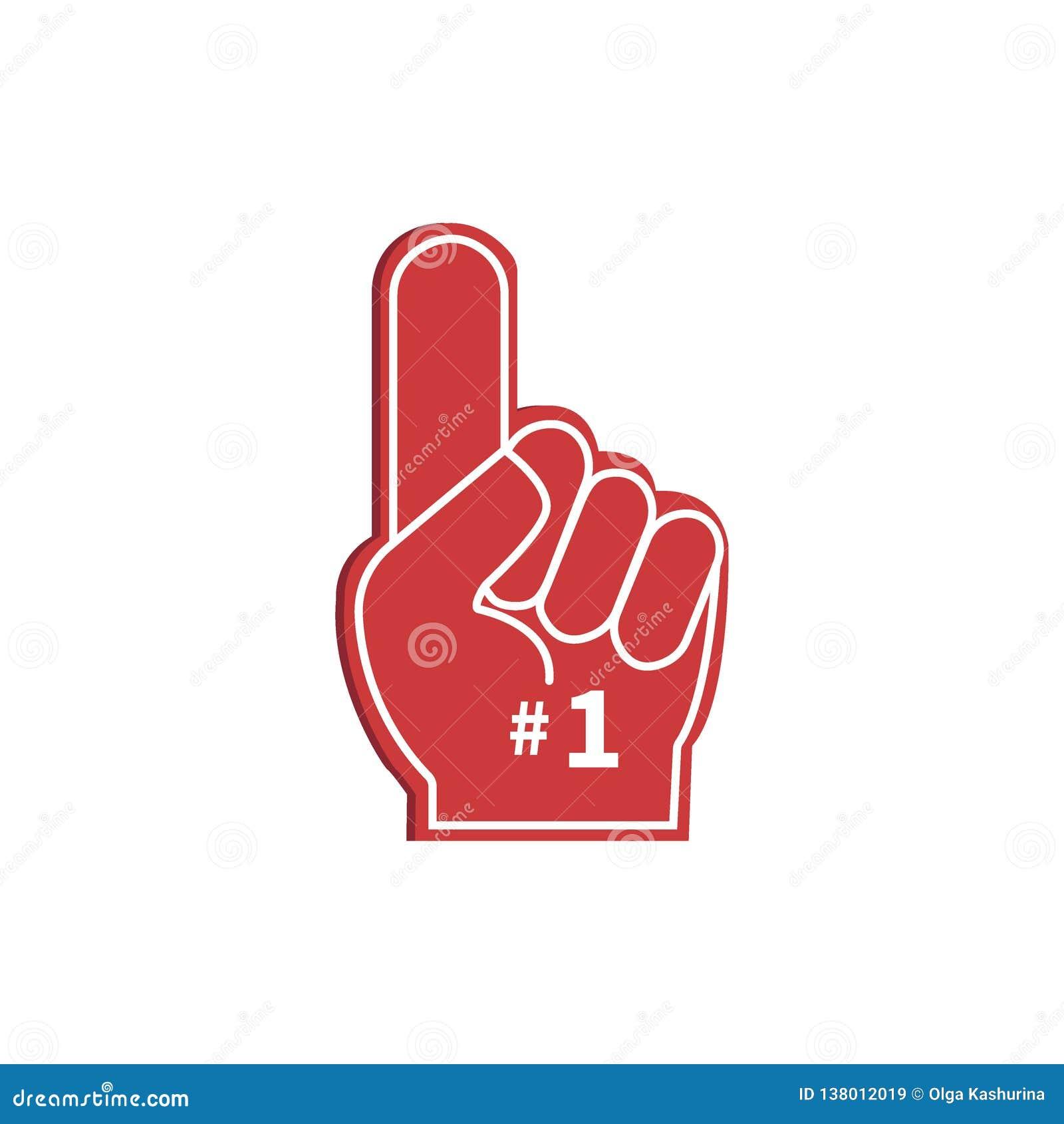Het embleemhand van de pictogramventilator met omhoog vinger