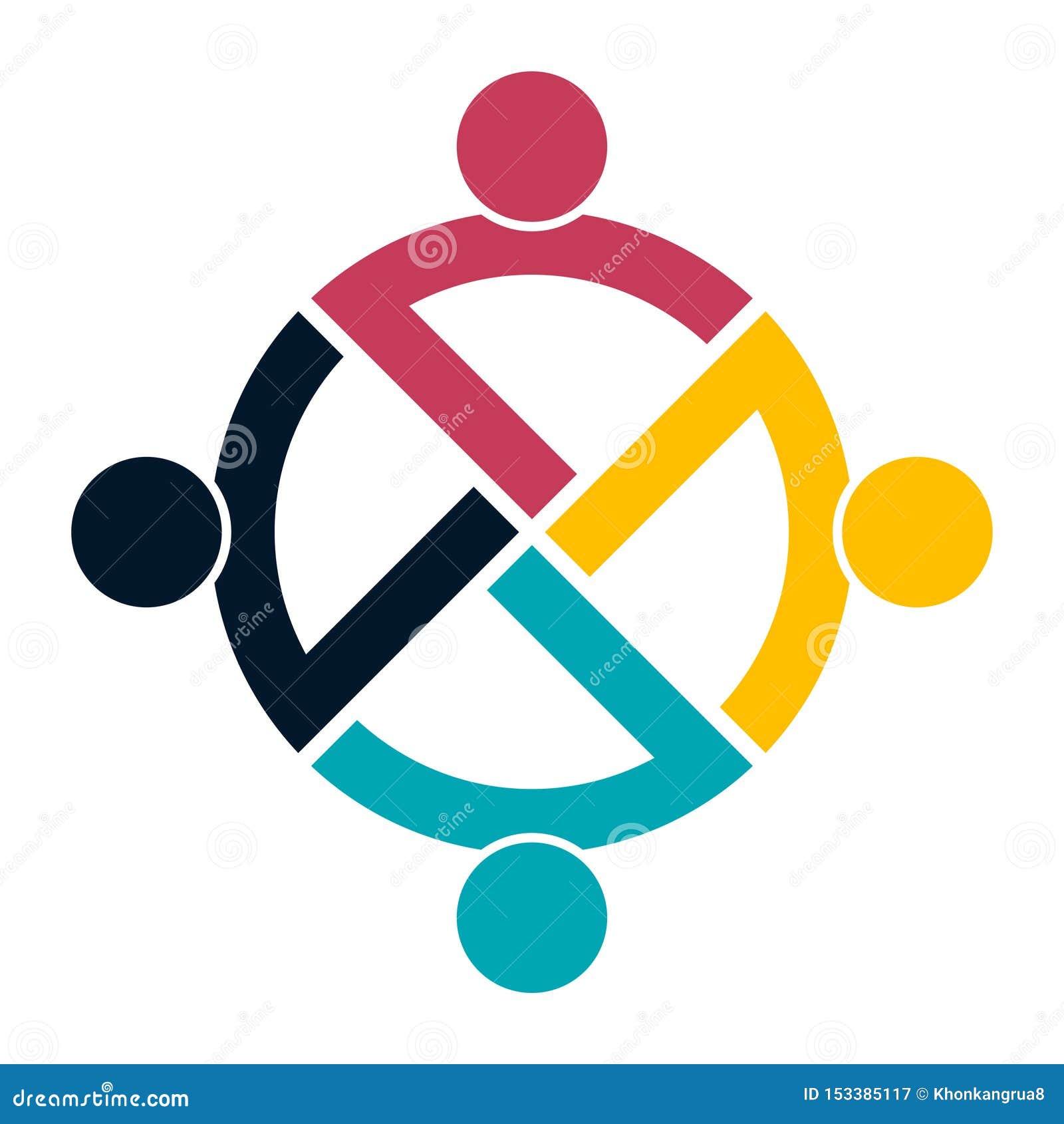 Het embleemhanddruk van groepsmensen in een cirkel, Groepswerkpictogram Vector illustrator