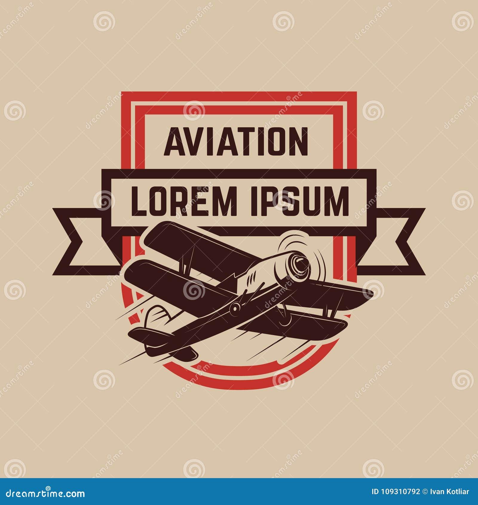 Het embleemmalplaatje van het luchtvaart opleidingscentrum met retro vliegtuig Ontwerpelement voor embleem, etiket, embleem, teke