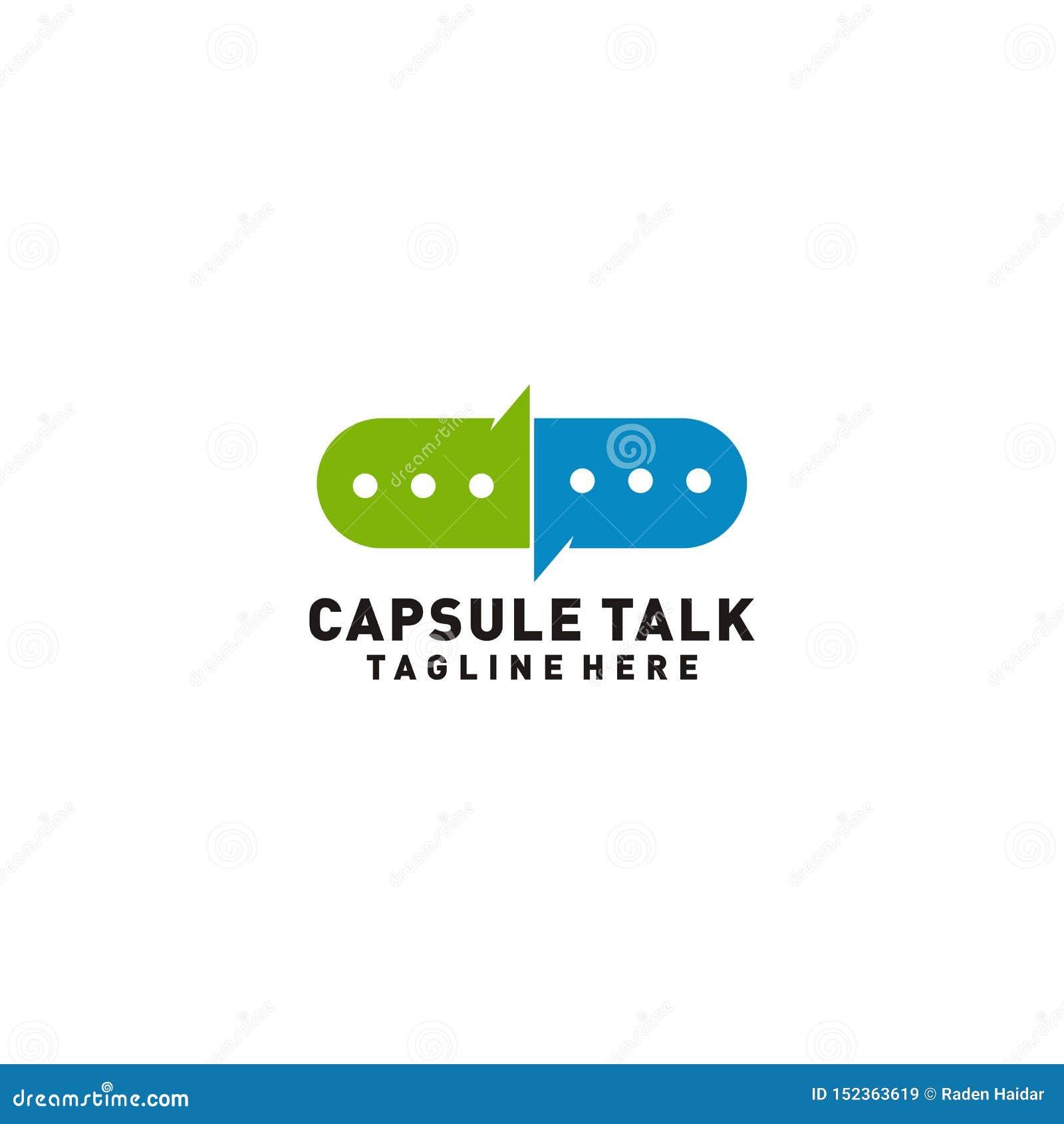 Het embleemontwerp van de capsulebespreking