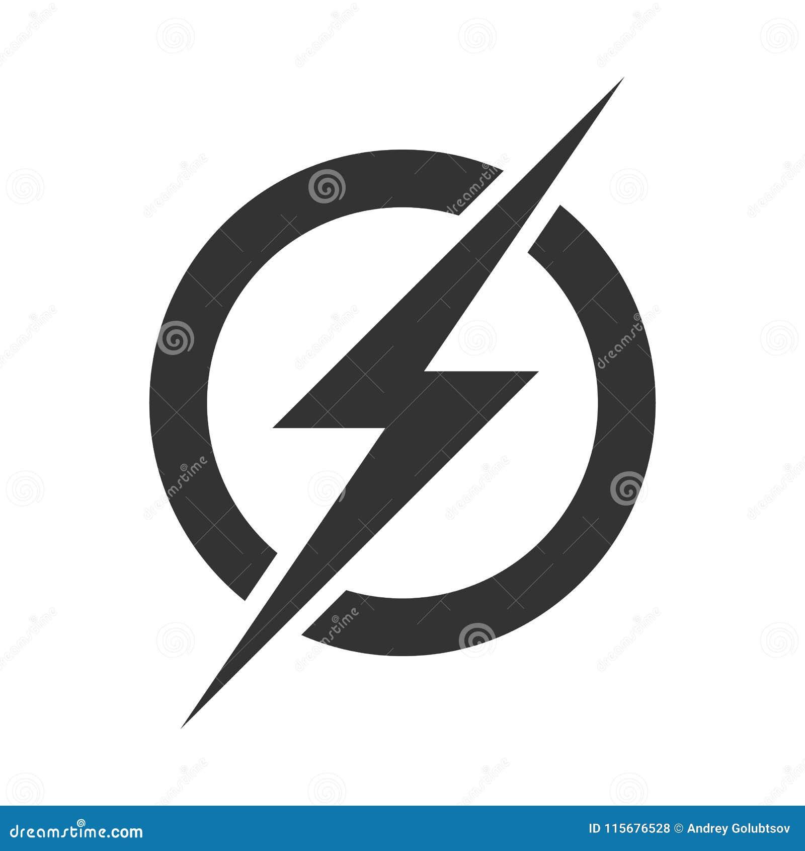 Het embleempictogram van de machtsbliksem Het vector elektrische snelle geïsoleerde symbool van de donderbout