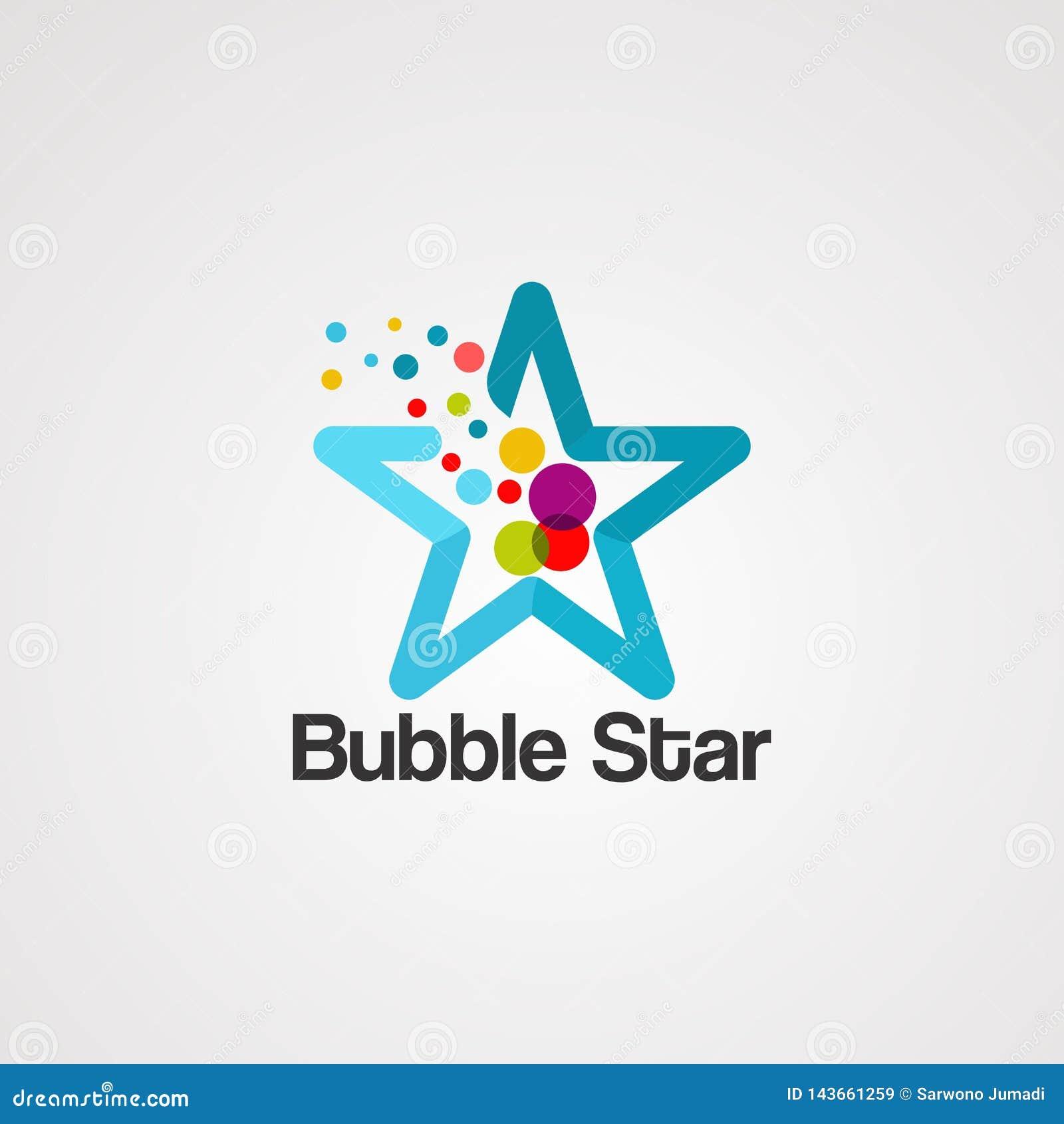 Het embleemvector, pictogram, element, en malplaatje van de bellen kleurrijke ster voor bedrijf