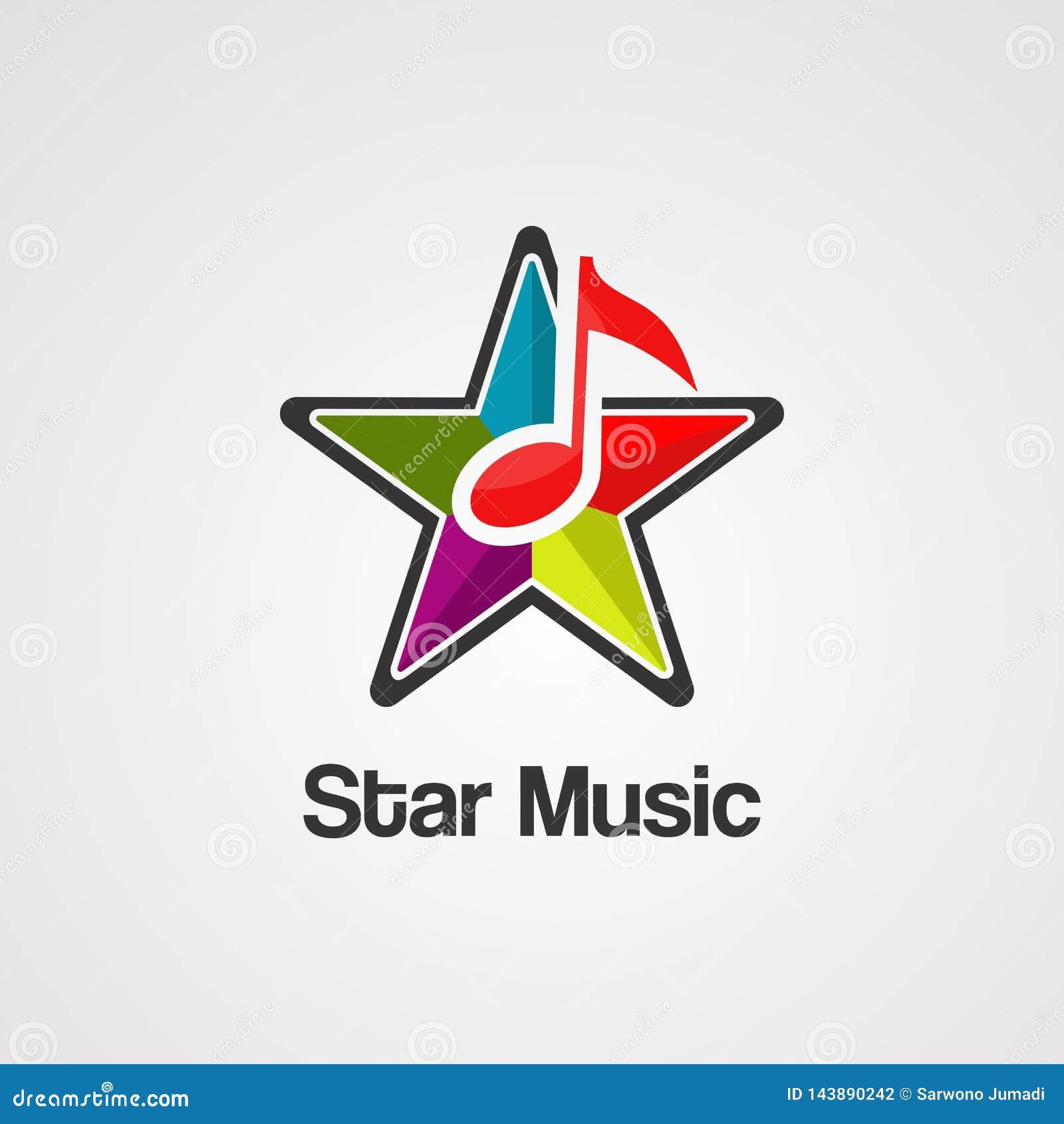 Het embleemvector, pictogram, element, en malplaatje van de stermuziek