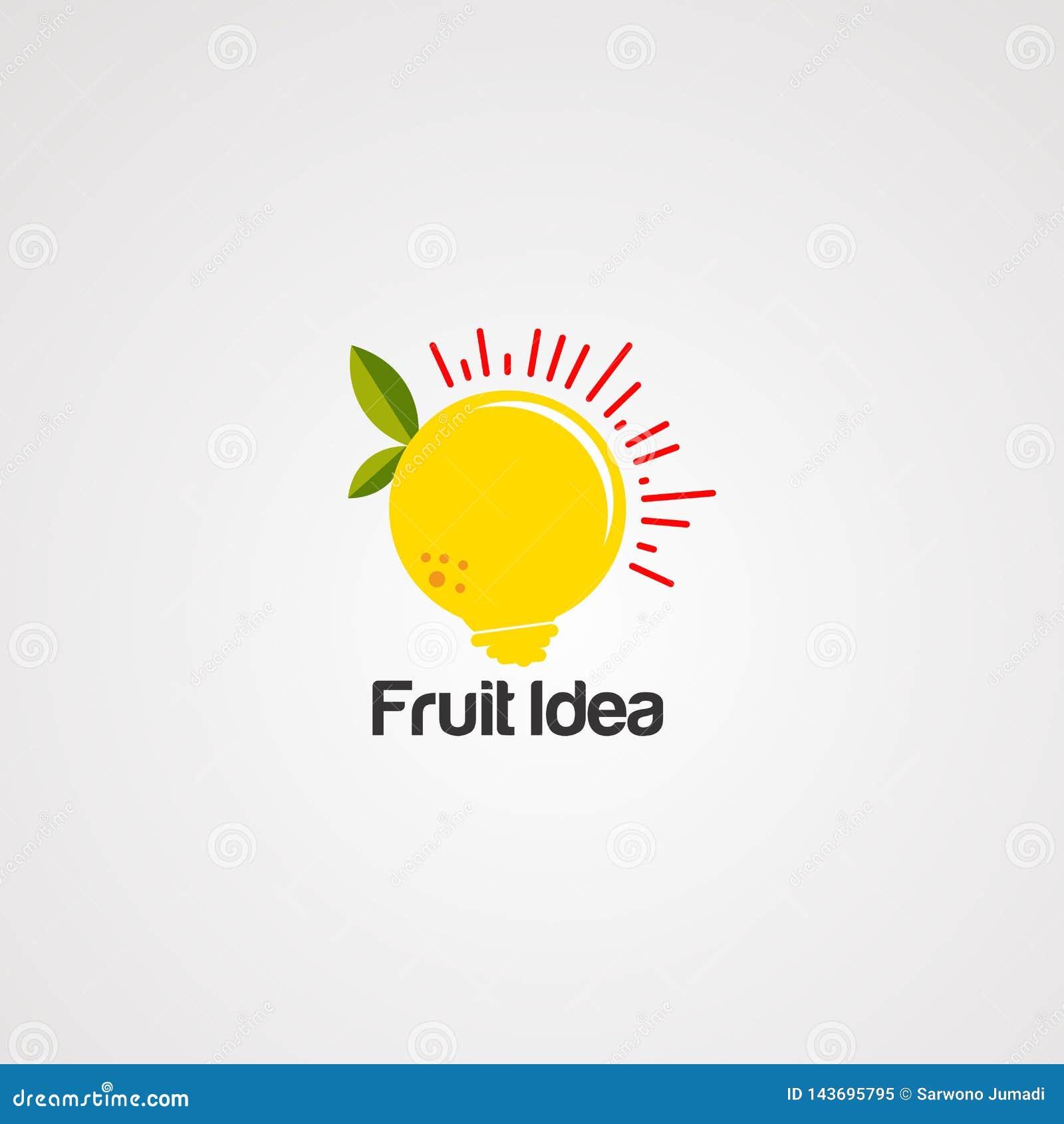 Het embleemvector, pictogram, element, en malplaatje van het fruitidee voor bedrijf
