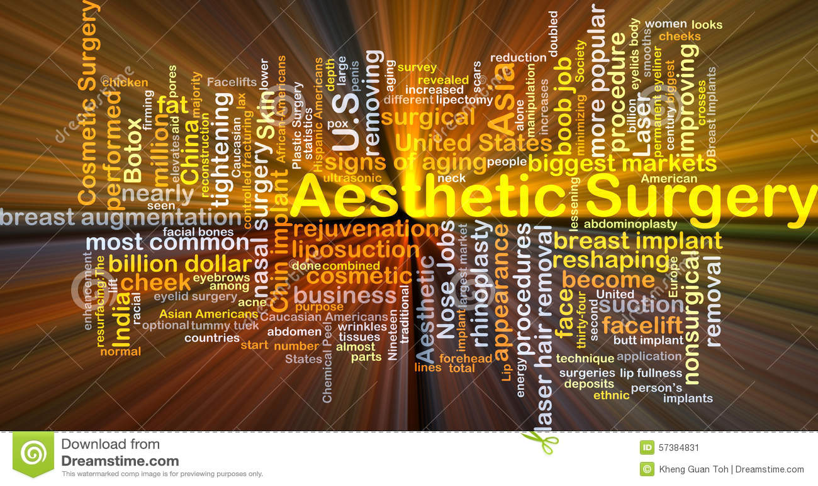 Het esthetische chirurgie achtergrondconcept gloeien