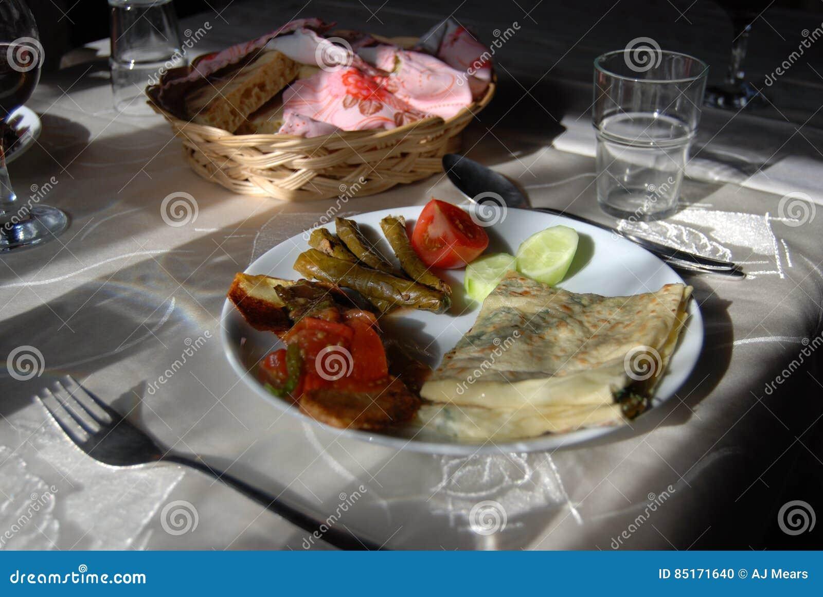 Het eten dichtbij Izmir Turkije