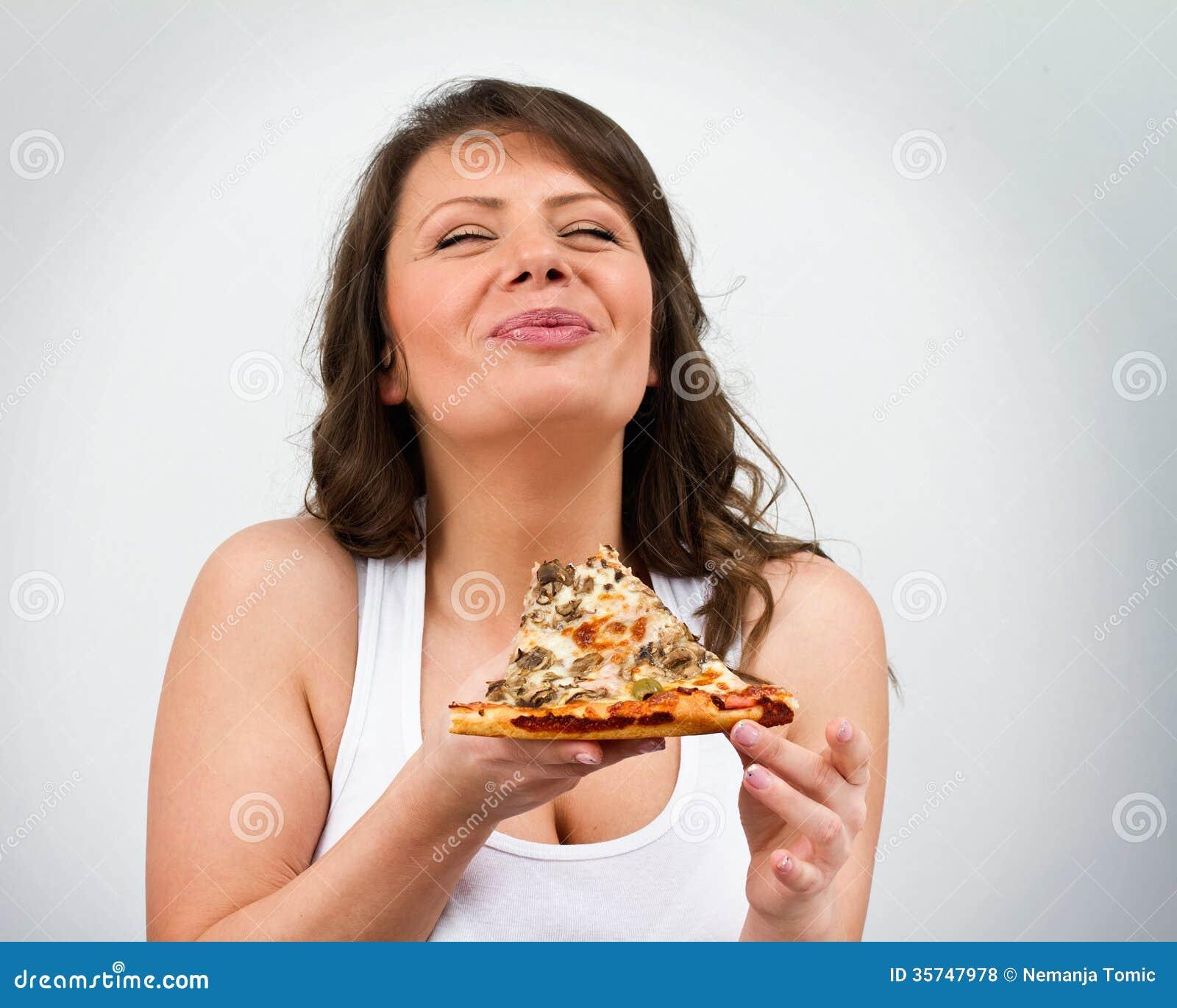Het eten van Pizza