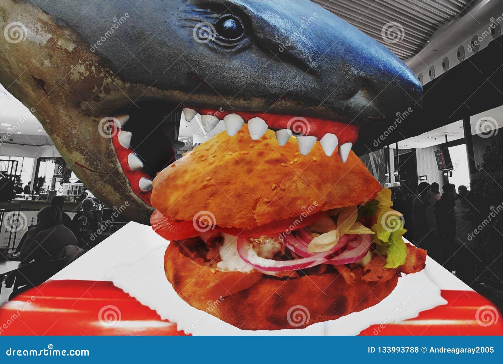 Het eten van verslavende ongezonde kost, voeding en dieetgezondheidsprobleemconcept als snel voedsel brengt het dier uit zieke me