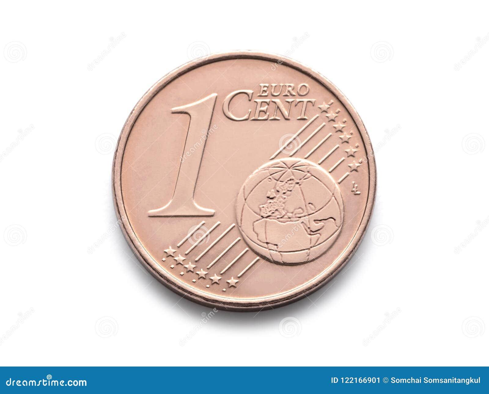 Het Euro muntstuk van één Cent isoleert het 1 cent euro muntstuk op witte achtergrond