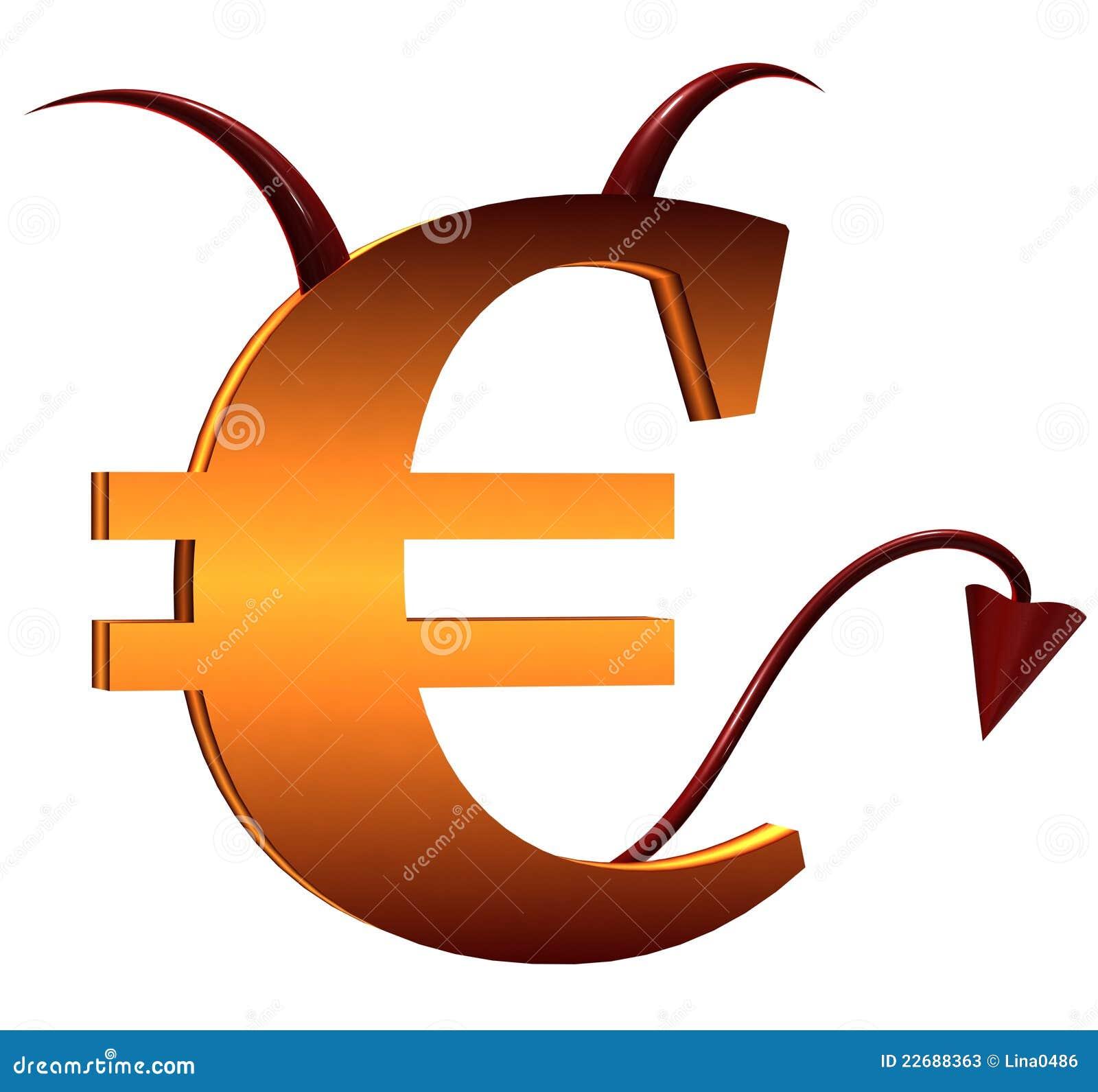 Het Euro Teken Van De Duivel Stock Illustratie ...