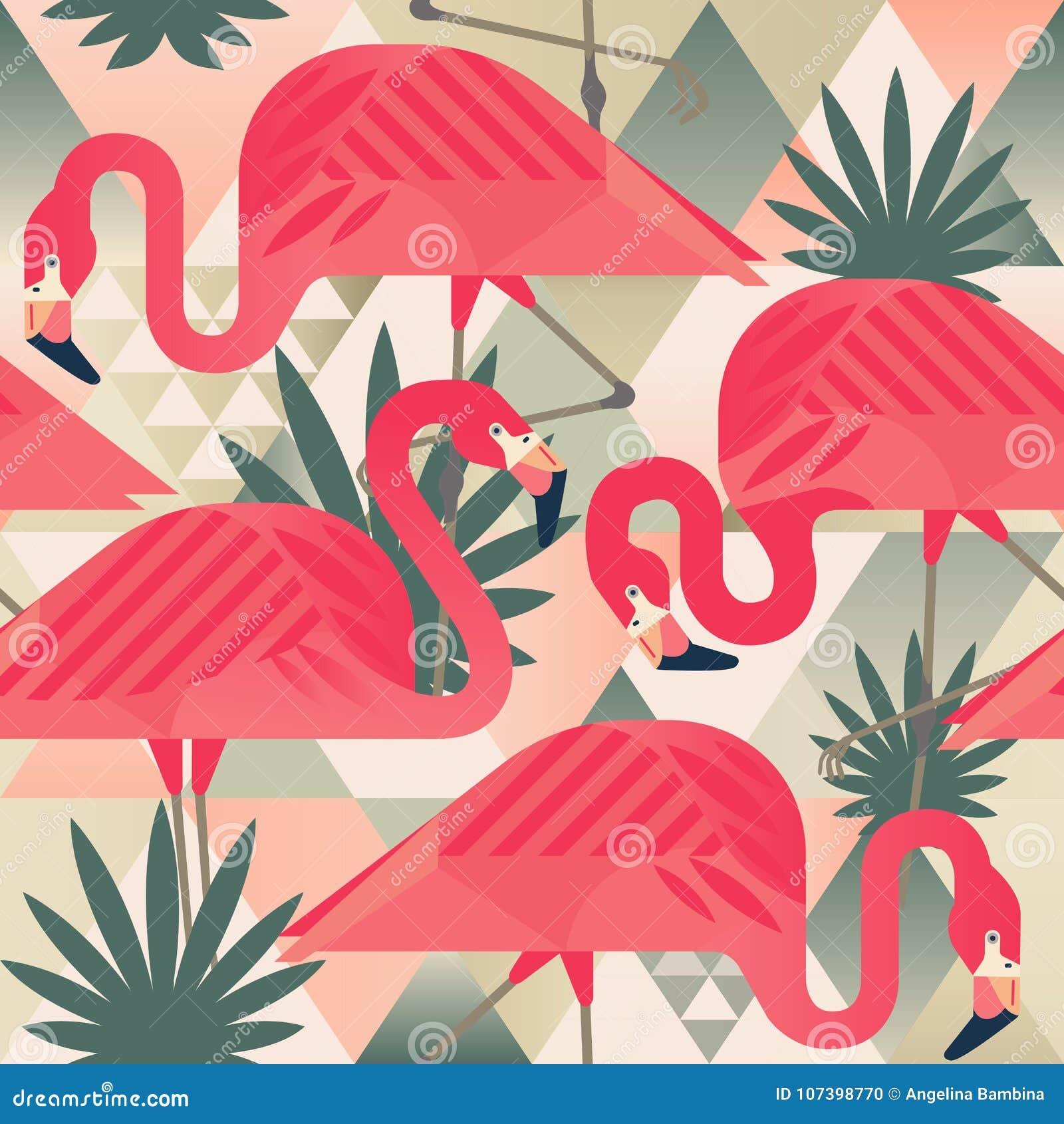 Het exotische strand in naadloze patroon, lapwerk illustreerde bloemen vector tropische banaanbladeren Wildernis roze flamingo s