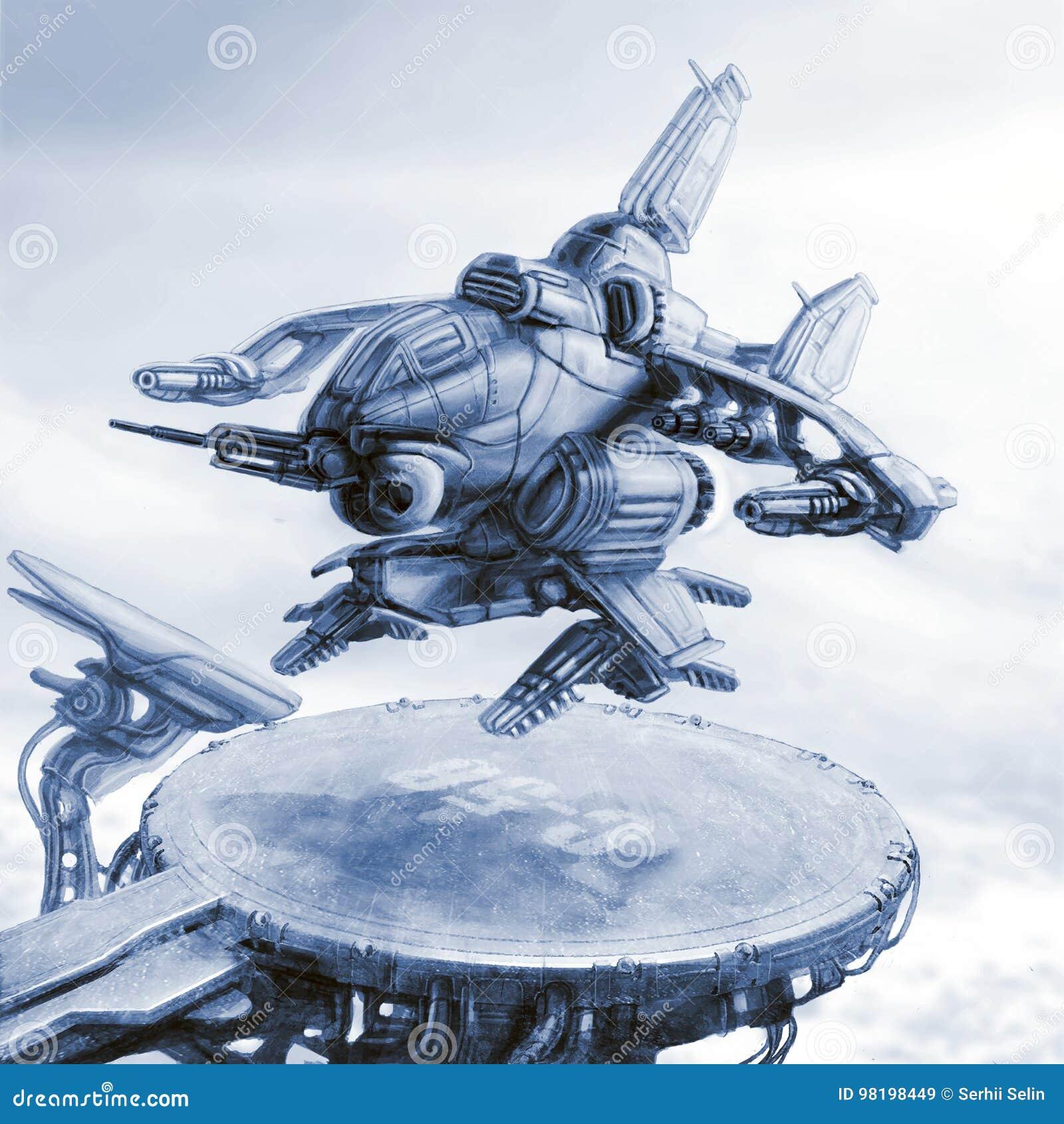 Het fantastische land van het gevechtsschip op een landend stootkussen Science fictionillustratie